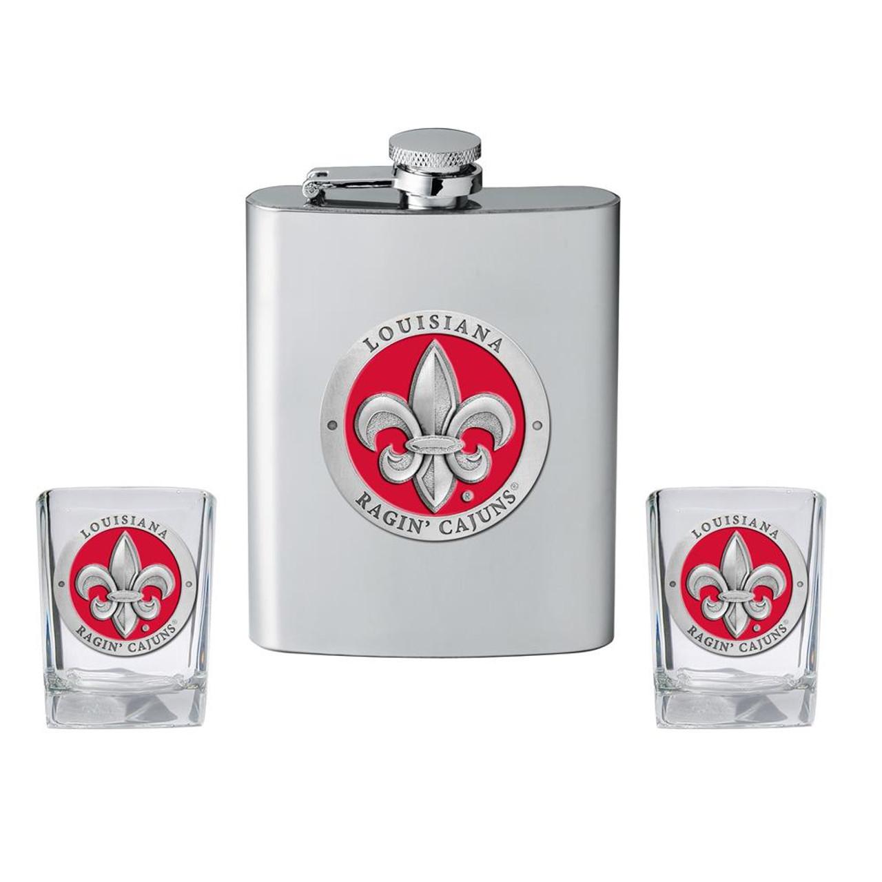Louisiana Lafayette Flask and 2 Shot Glass Set Liquor Flask
