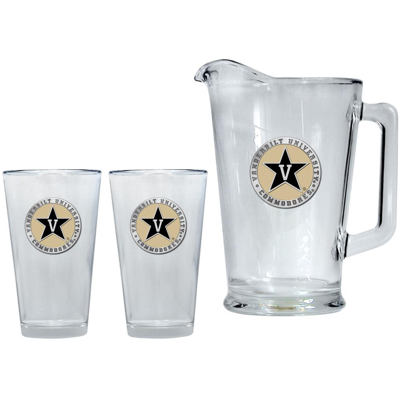 Vanderbilt University Vandy Pitcher and 2 Pint Glass Set Beer Set
