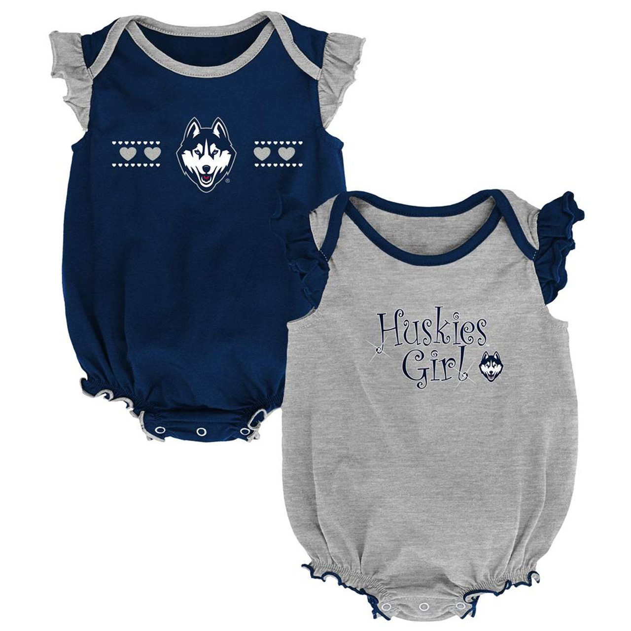 UCONN Connecticut Huskies Creeper 2 Pack Homecoming Bodysuit Set