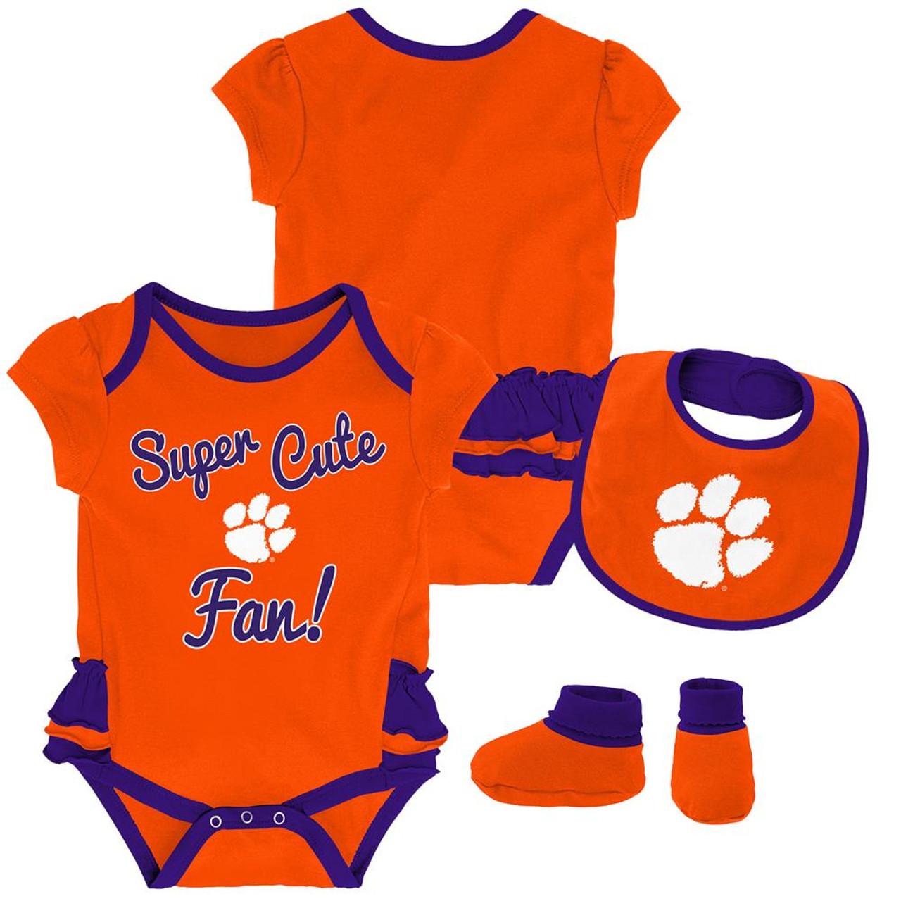 Clemson University Tigers Creeper, Bib and Bootie Set Infant Set