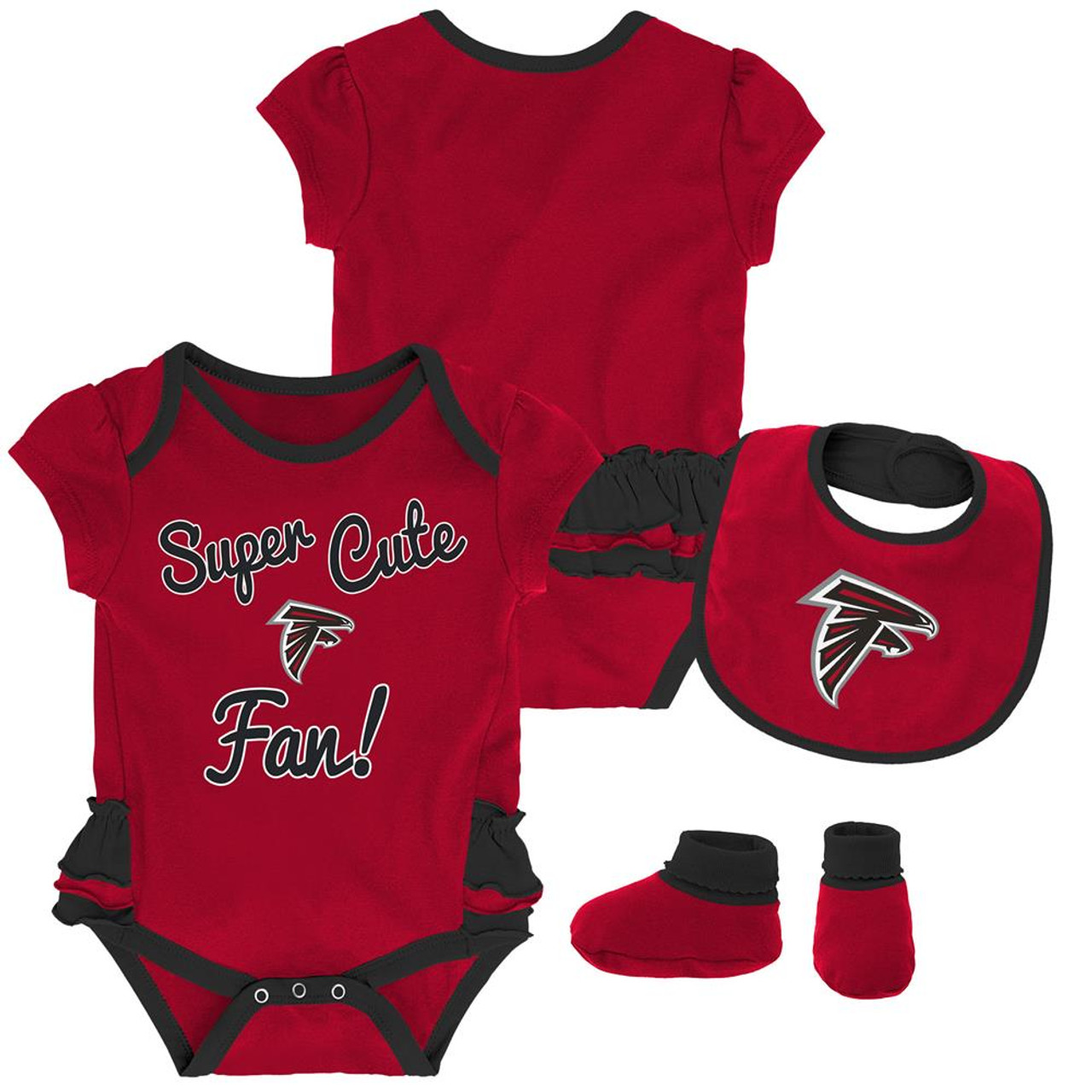 Atlanta Falcons Creeper, Bib and Bootie Set Infant Set