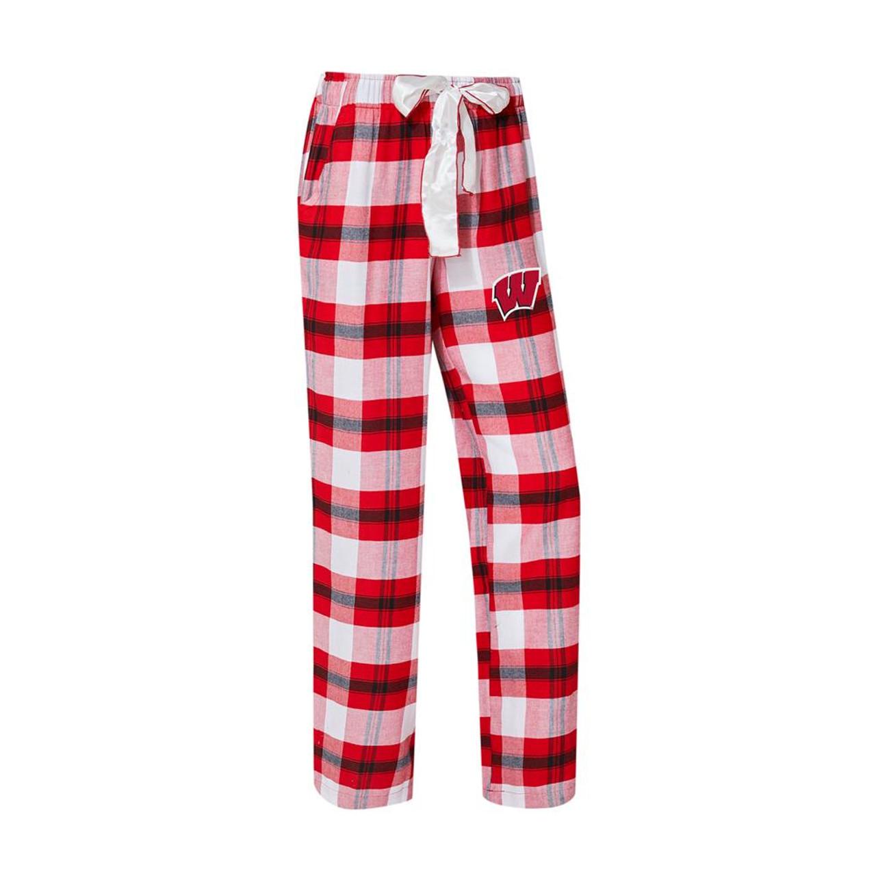 University of Wisconsin Badgers Women's Flannel Pajamas Plaid PJ Bottoms