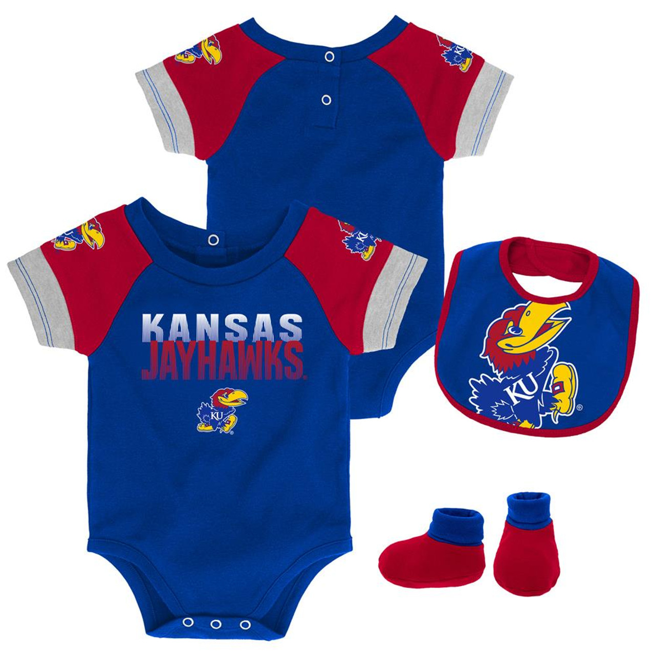 Infant Kansas Jayhawks KU Creeper Set Baby Snapsuit Set