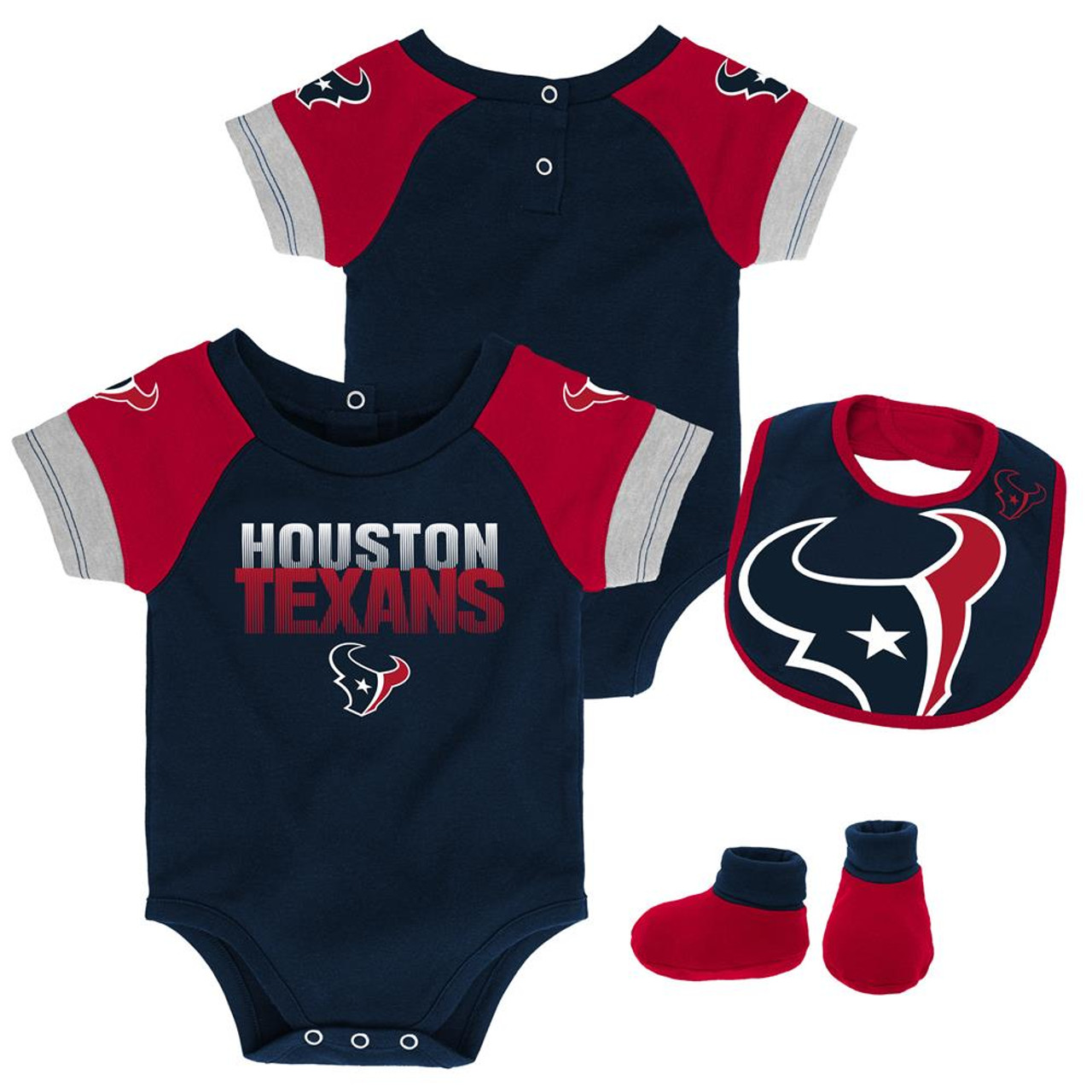 Infant Houston Texans Creeper Set Baby Snapsuit Set