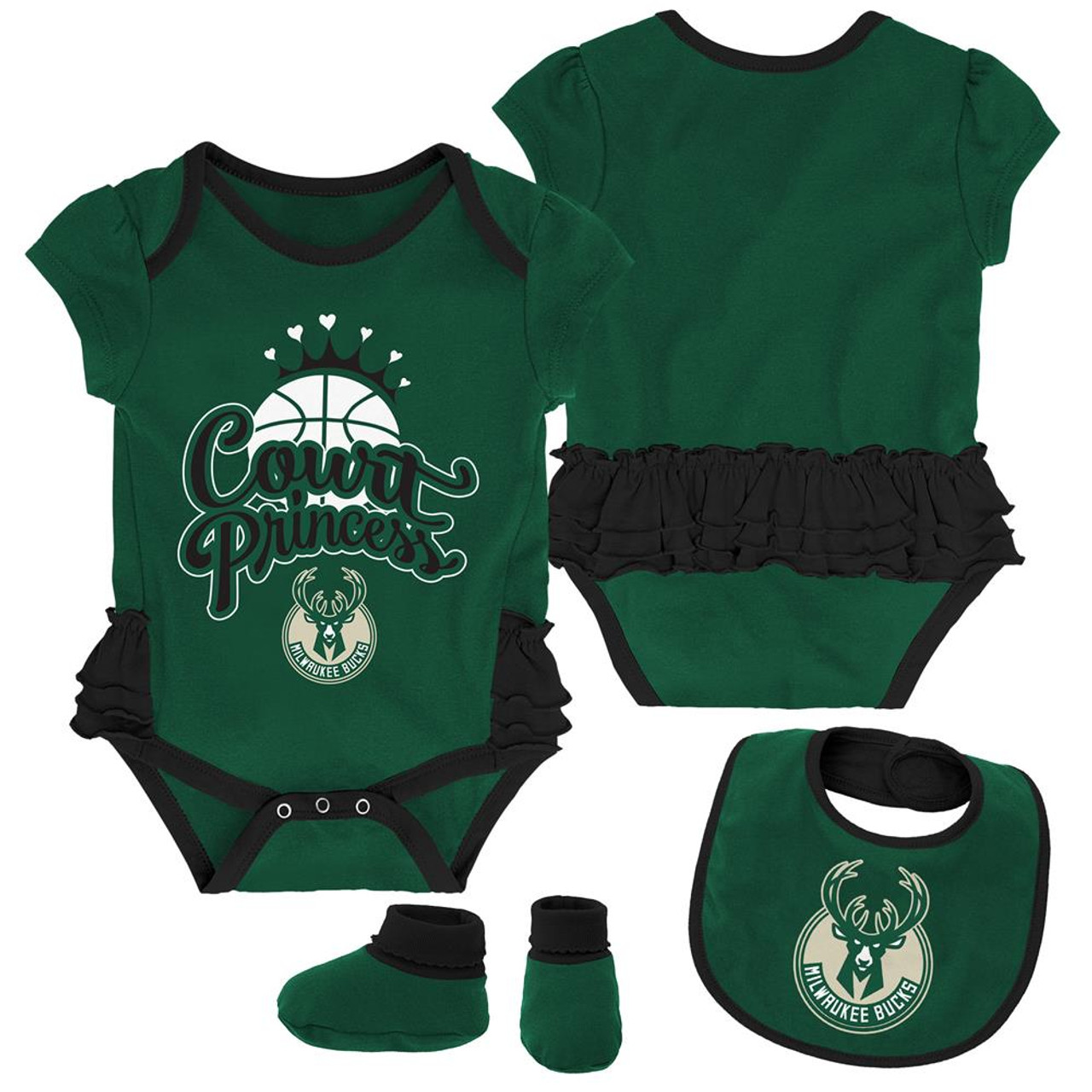 Milwaukee Bucks Creeper, Bib and Bootie Set Infant Set