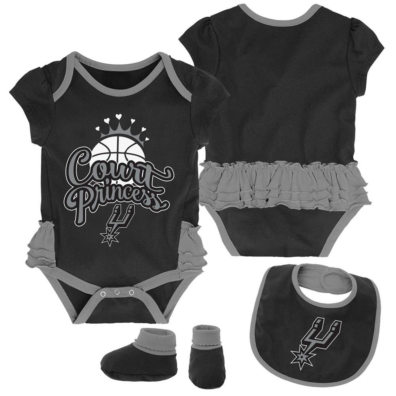 San Antonio Spurs Creeper, Bib and Bootie Set Infant Set