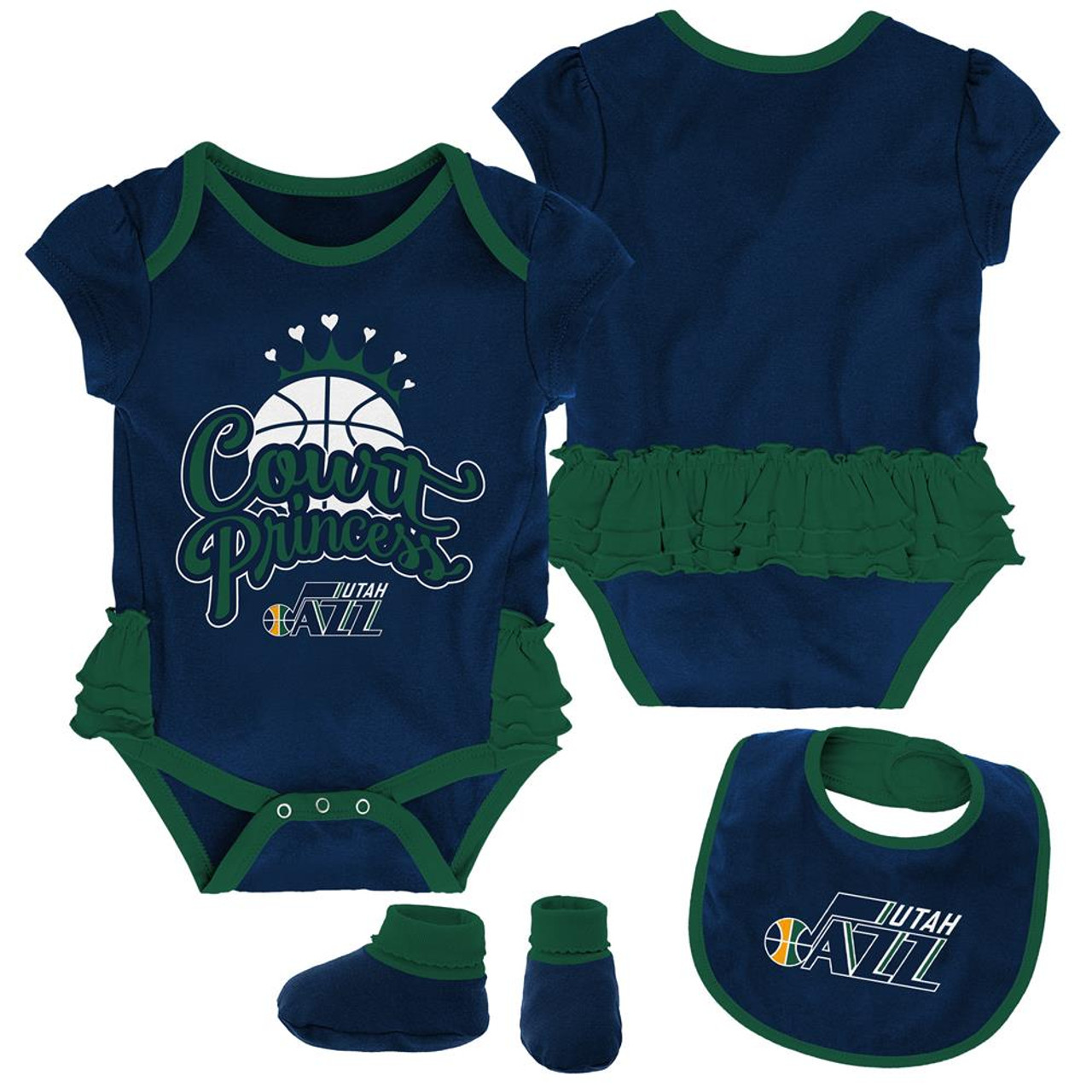 Utah Jazz Creeper, Bib and Bootie Set Infant Set