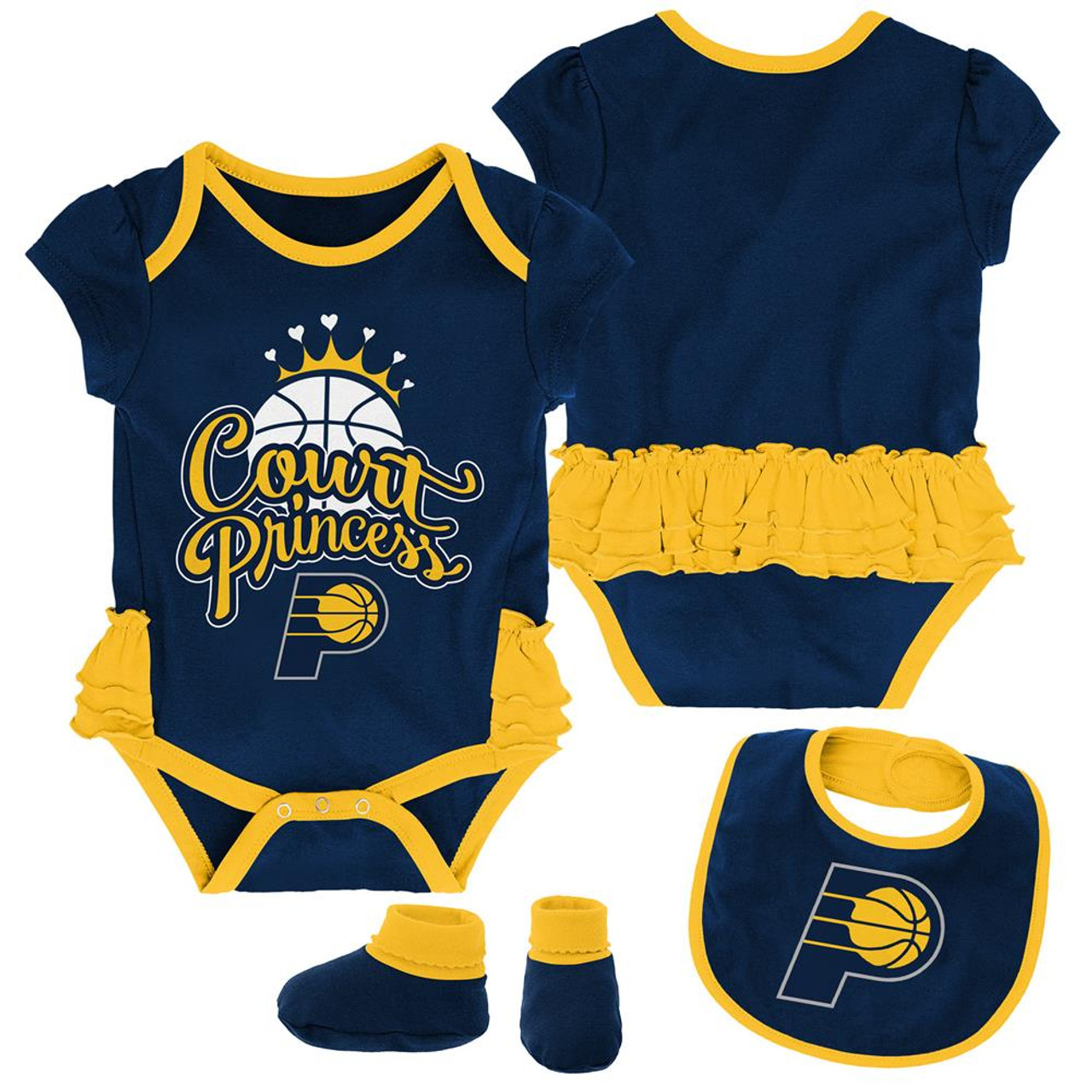Indiana Pacers Creeper, Bib and Bootie Set Infant Set