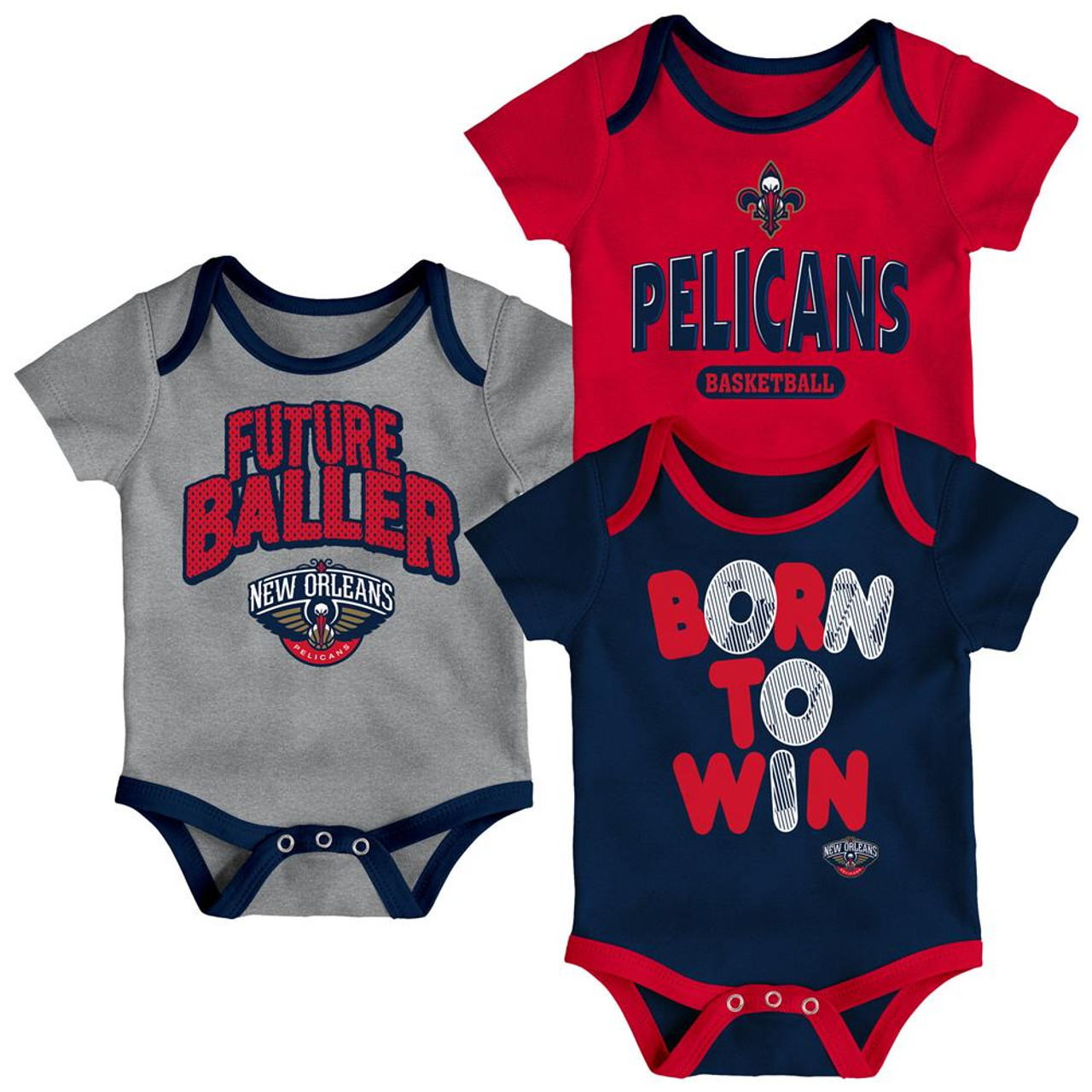 New Orleans Pelicans Infant Creeper Set Lil Tailgater 3 Pack