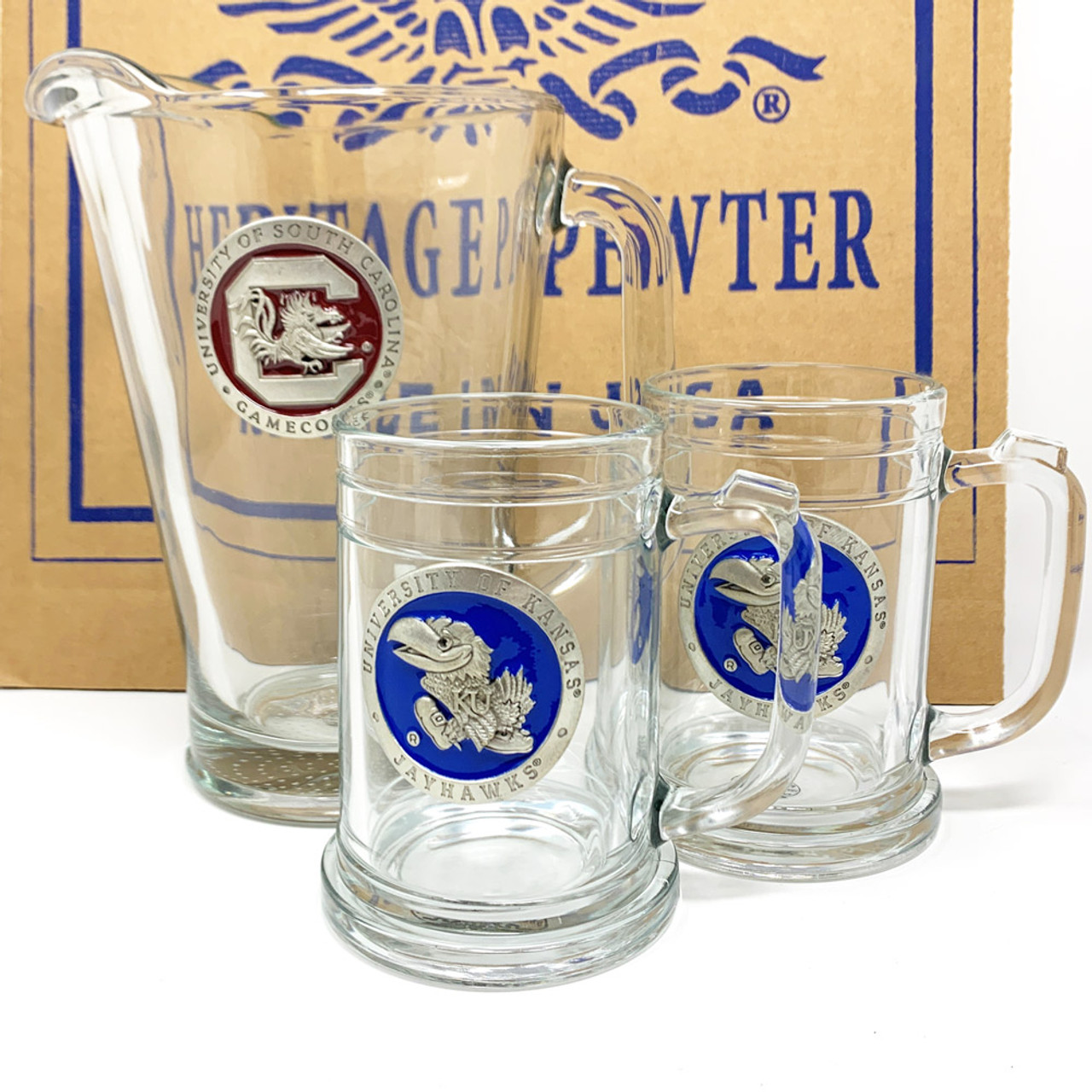 TCU Texas Christian Pitcher and 2 Stein Glass Set Beer Set