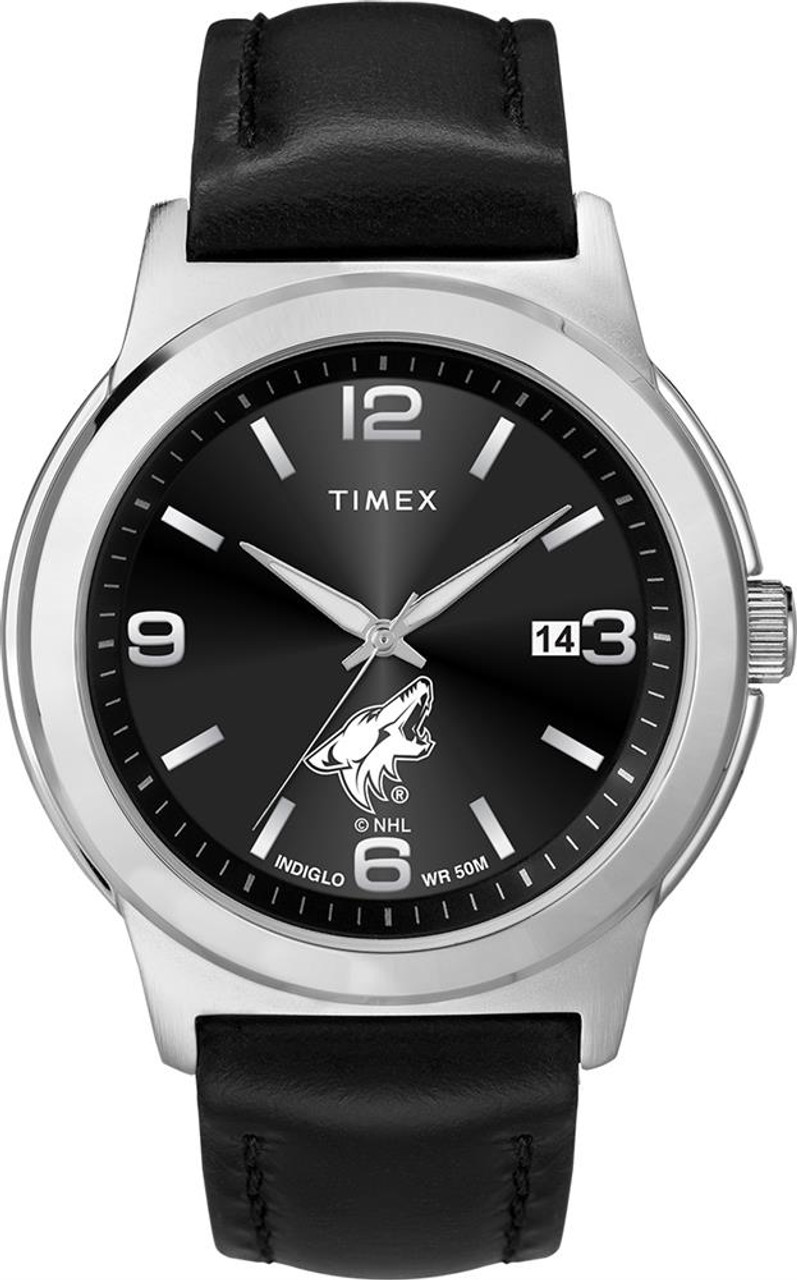Men's Arizona Coyotes Watch Black Leather Band Timex Ace