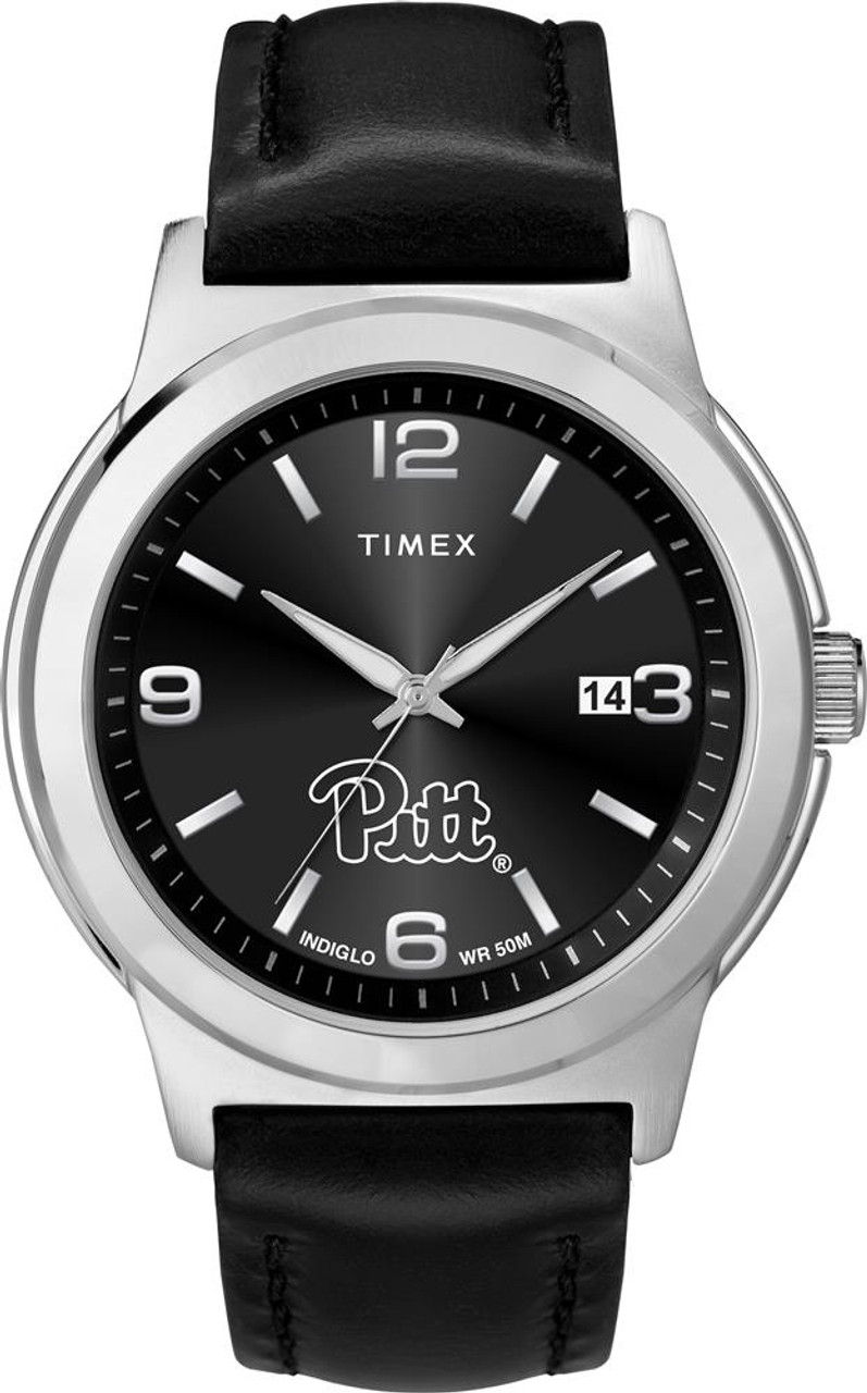 Men's Pitt University Panthers Watch Black Leather Band Timex Ace
