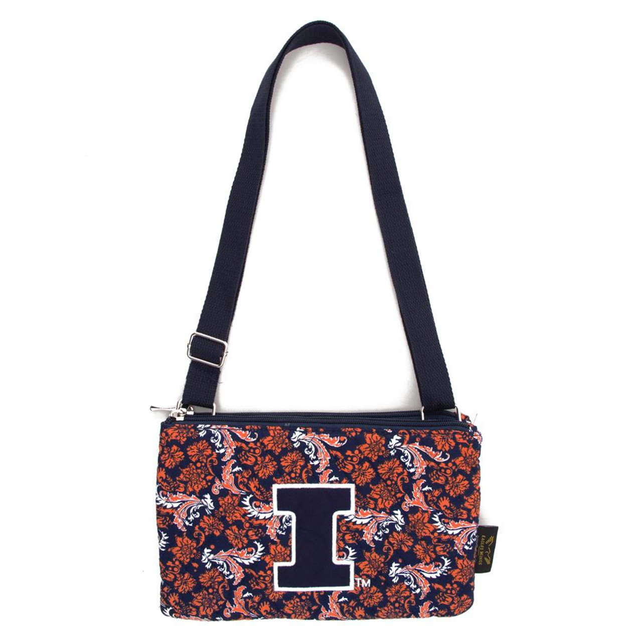 University of Illinois Purse Bloom Quilted Crossbody Handbag