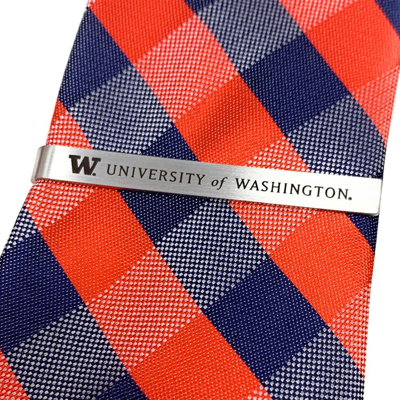 University of Washington Tie Clip Silver Tie Bar Gift Set