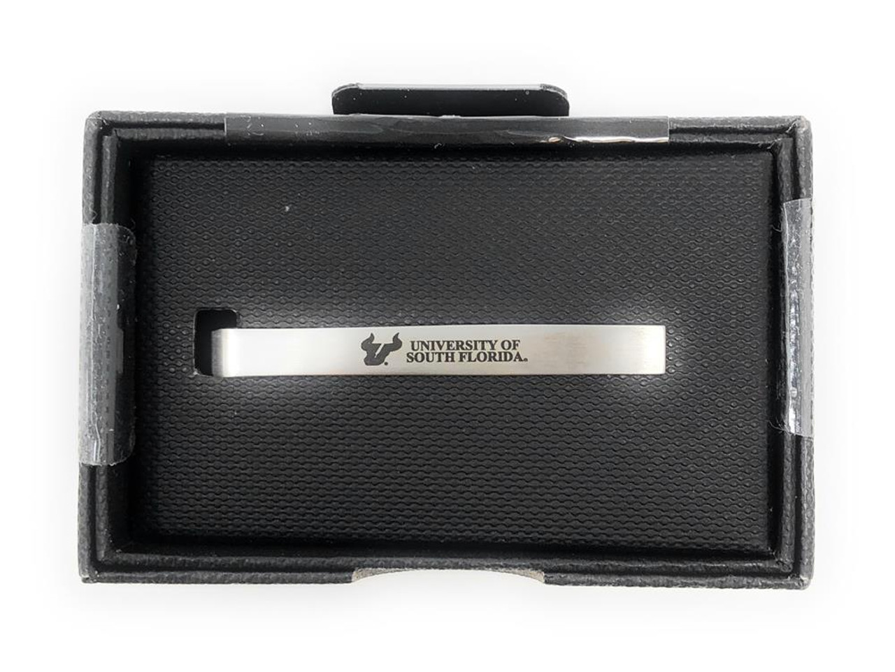 South Florida USF Bulls Tie Clip Silver Tie Bar Gift Set