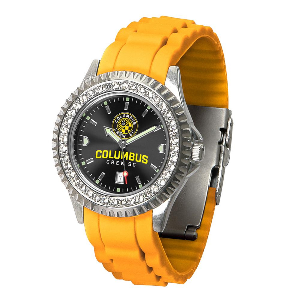 Ladies Columbus Crew Watch Silcone Band Crystal Bezel