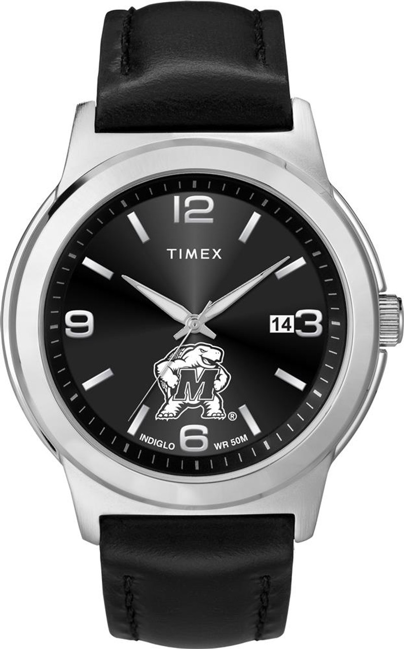 Men's University of Maryland Terps Watch Black Leather Band Timex Ace