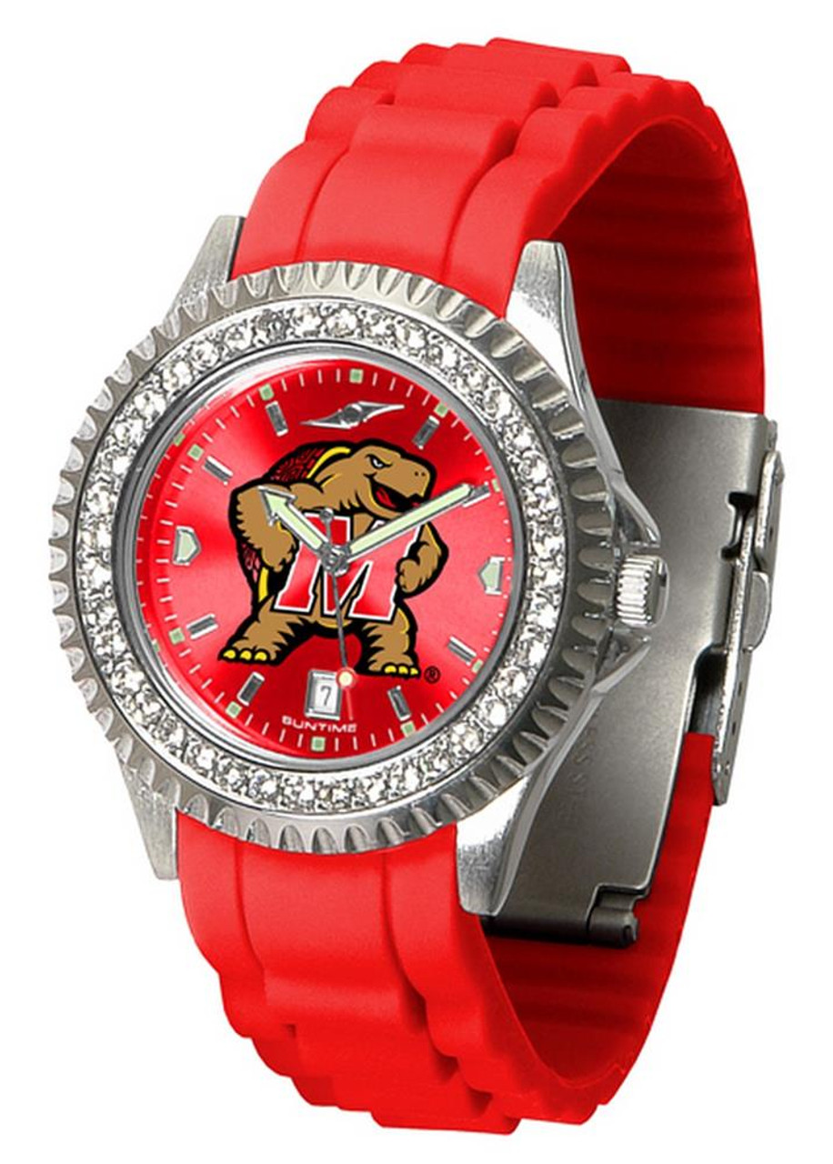 Women's University of Maryland Terps Watch Sparkle Bezel Silicone Band