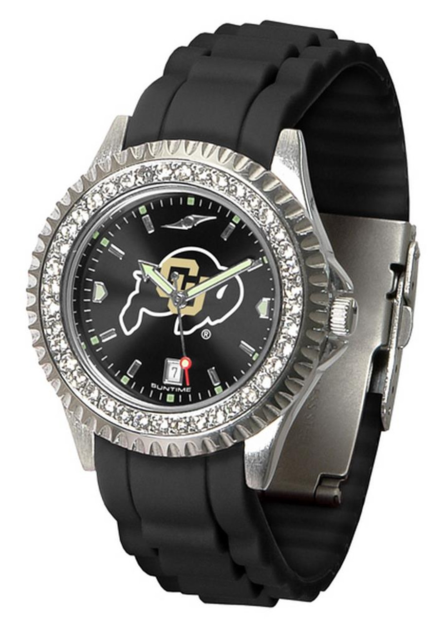 Women's University of Colorado Buffaloes Watch Sparkle Bezel Silicone Band