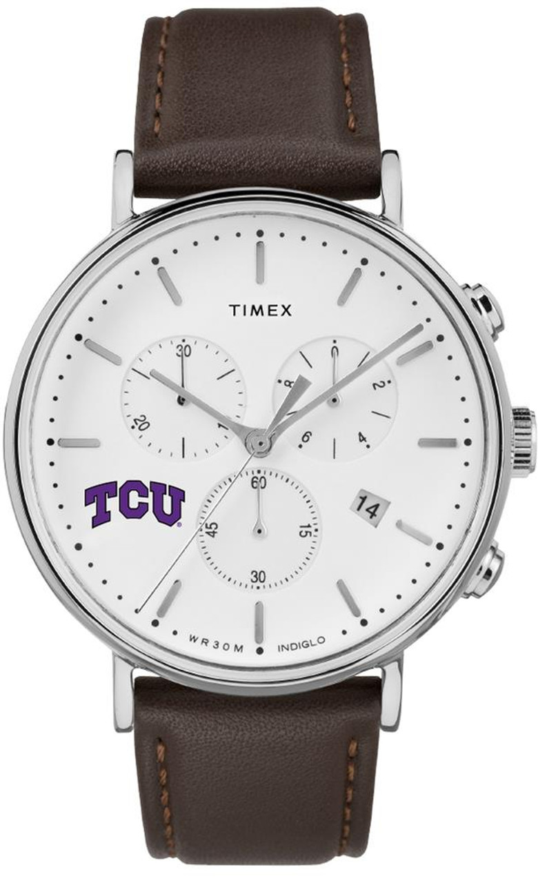 Mens TCU Texas Christian Watch Chronograph Leather Band Watch