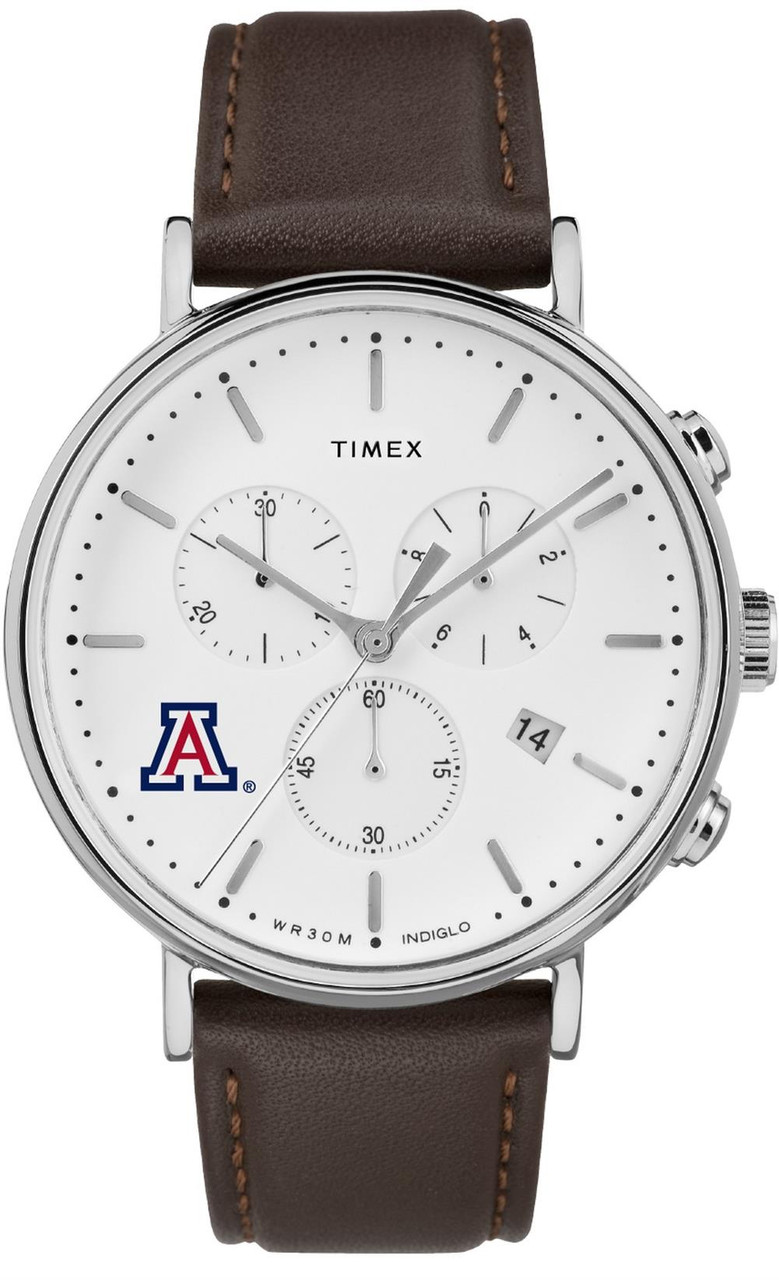 Mens Arizona Wildcats Watch Chronograph Leather Band Watch