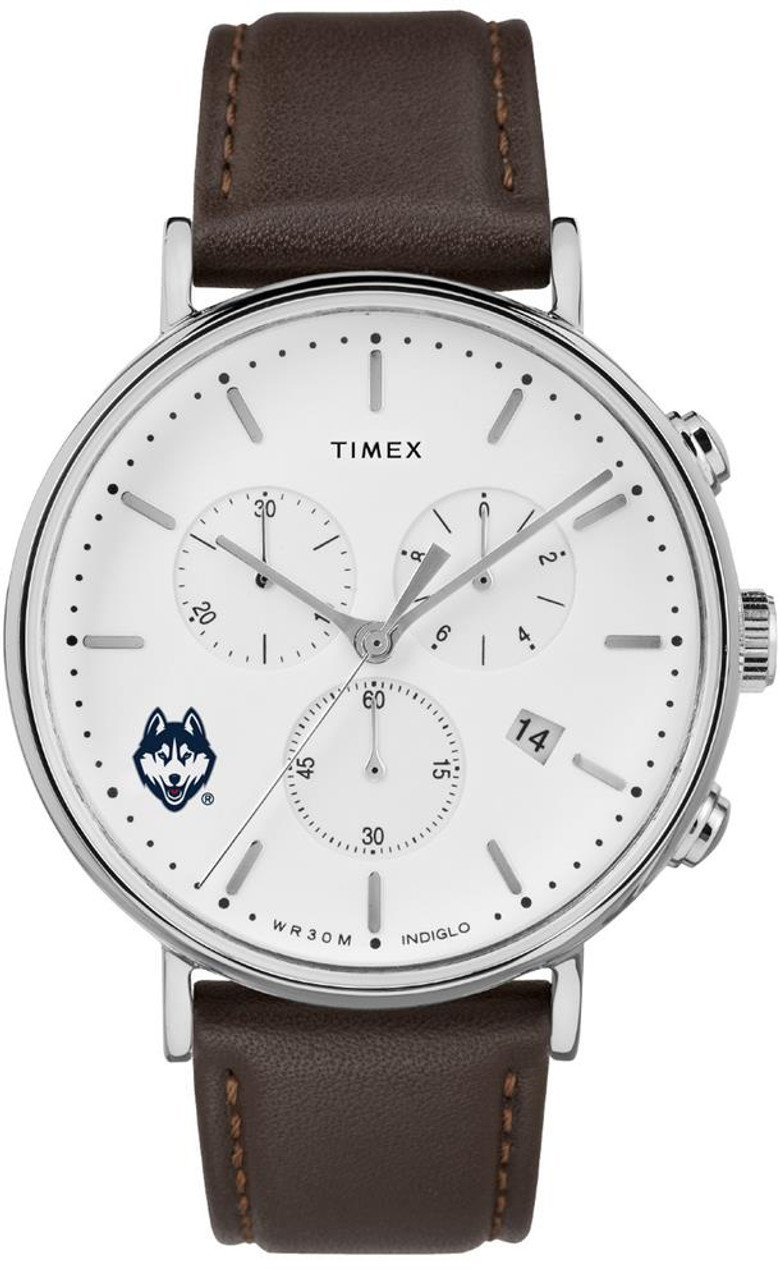 Mens UCONN Connecticut Huskies Watch Chronograph Leather Band Watch
