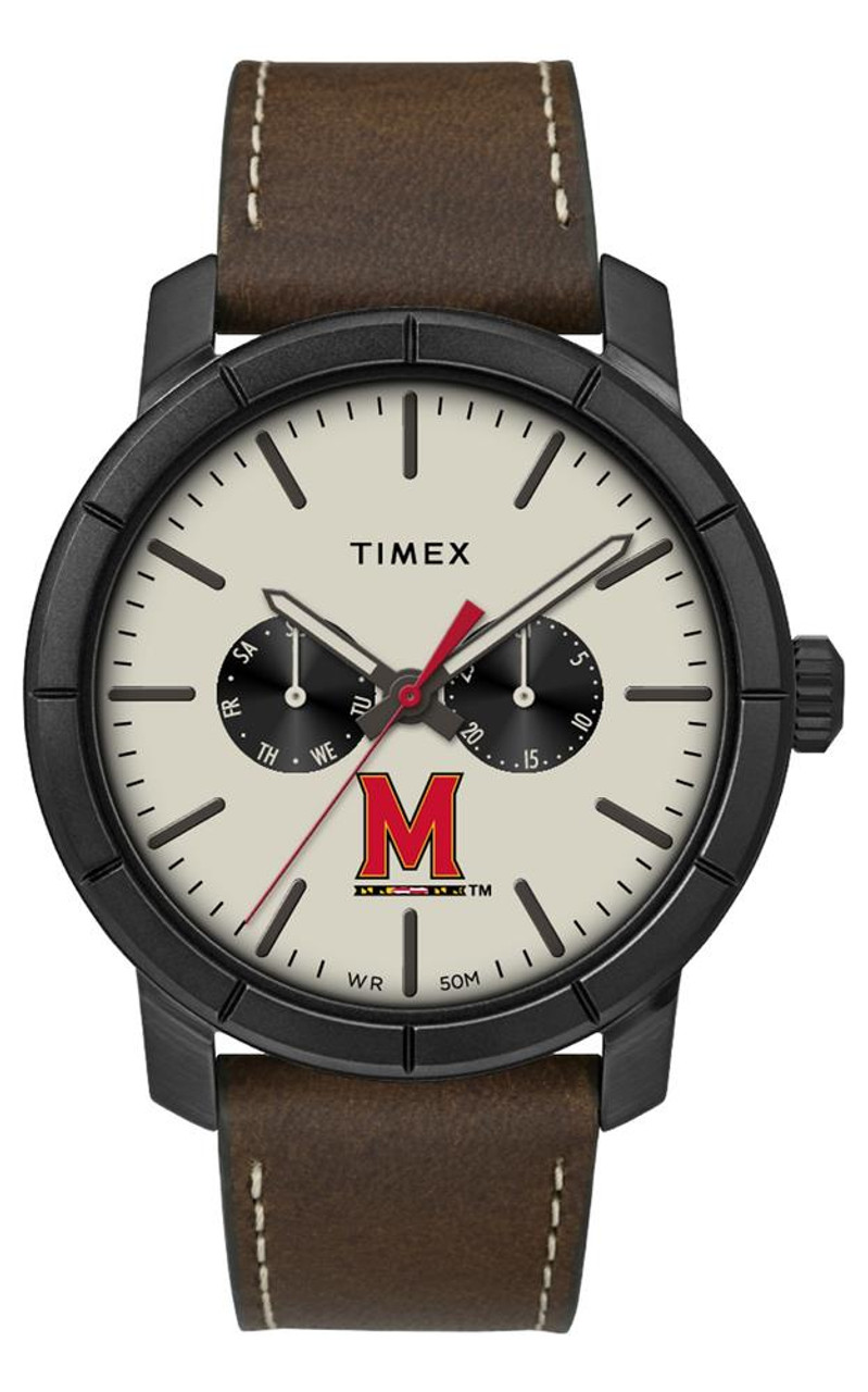 Men's University of Maryland Terps Timex Watch Home Team Leather Watch