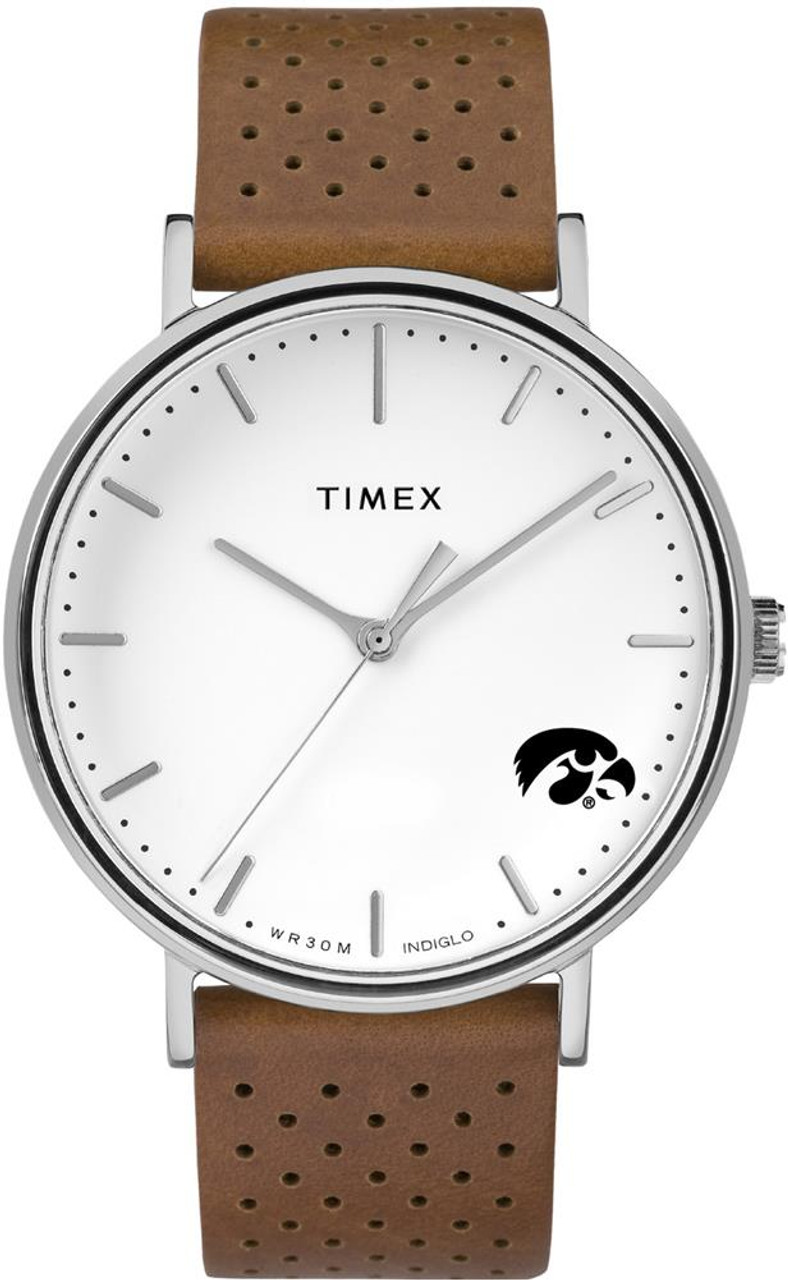 Womens Timex University of Iowa Hawkeyes Watch Bright Whites Leather