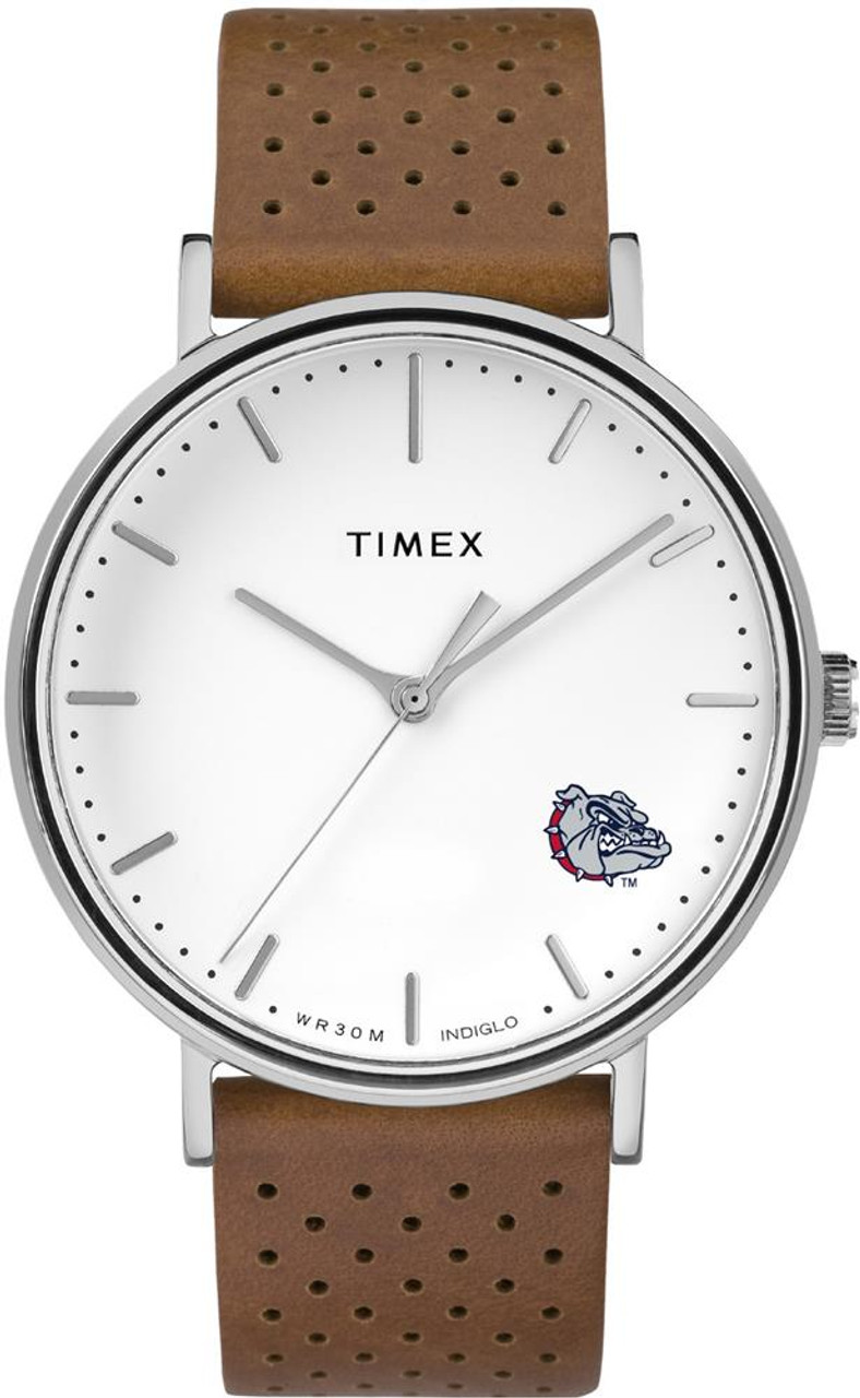 Womens Timex Gonzaga University Bulldogs Watch Bright Whites Leather