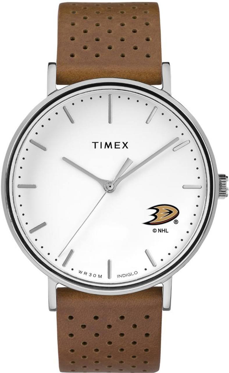 Womens Timex Anaheim Ducks Watch Bright Whites Leather
