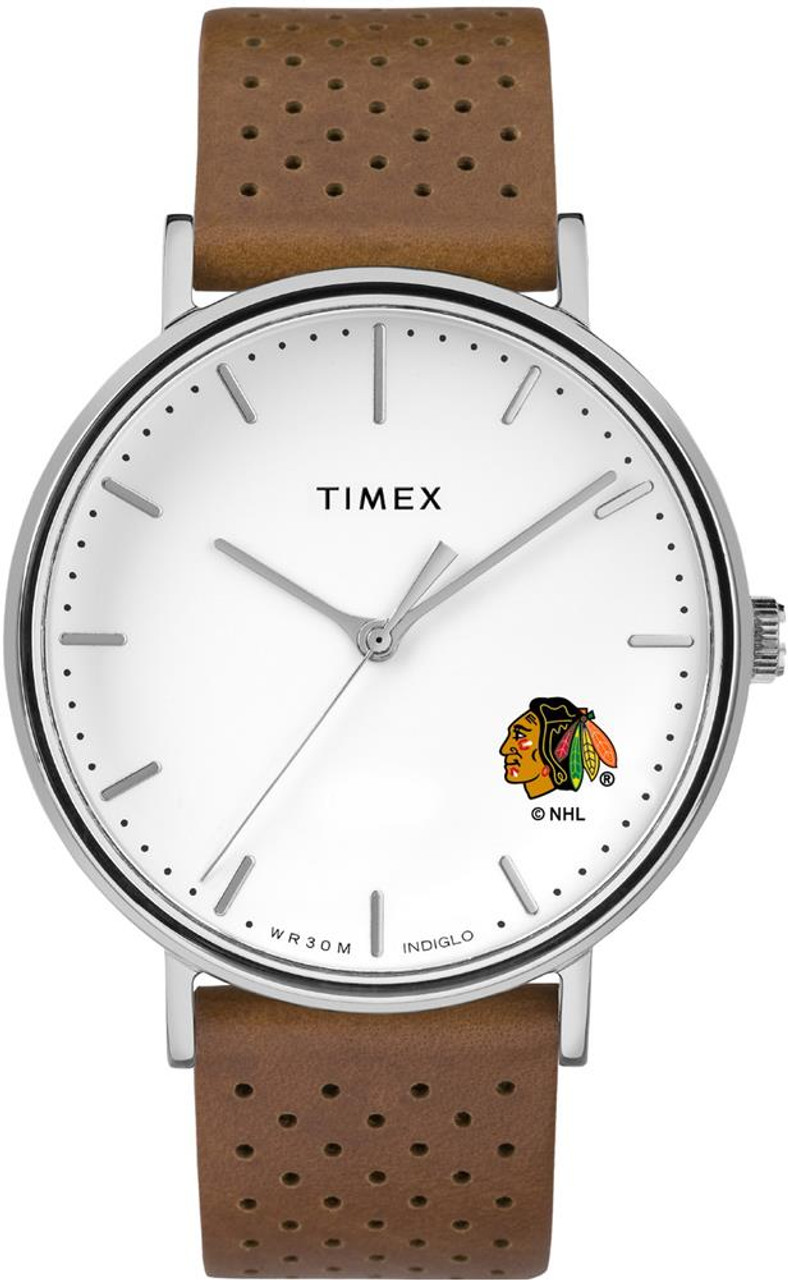 Womens Timex Chicago Blackhawks Watch Bright Whites Leather