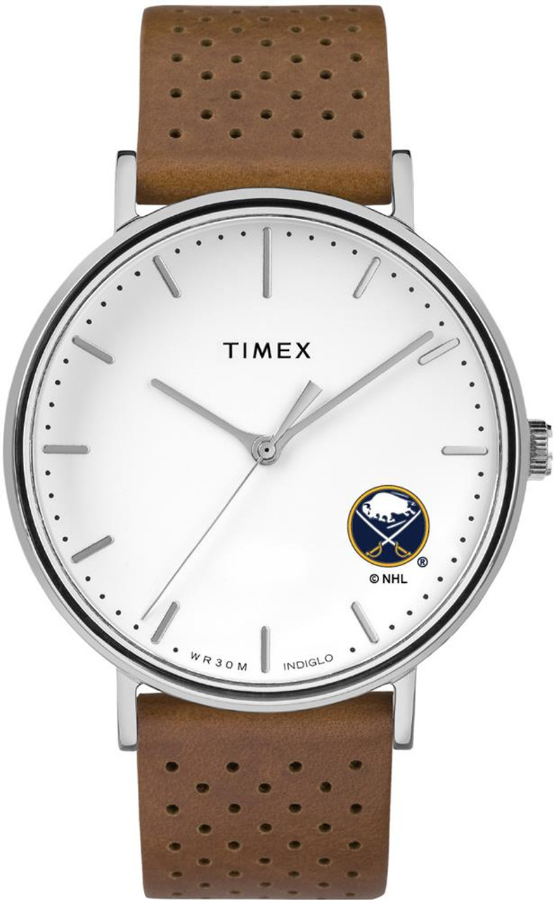 Womens Timex Buffalo Sabres Watch Bright Whites Leather