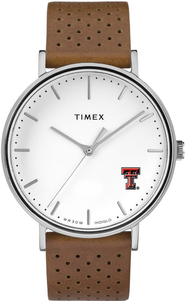 Womens Timex Texas Tech University Watch Bright Whites Leather