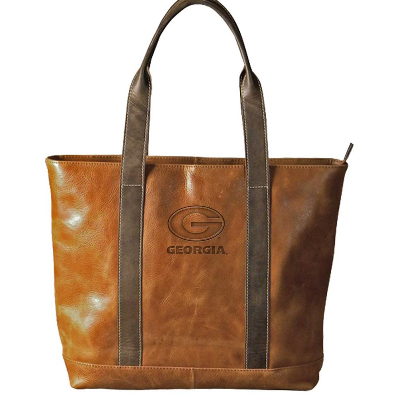 Georgia Bulldogs UGA Tote Two-Tone Tan Leather Tote Bag