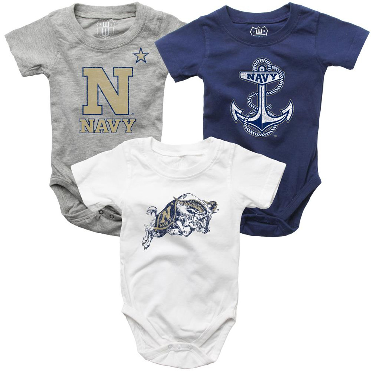 Infant Naval Academy Navy Bodysuits 3 Pack Organic Cotton Set