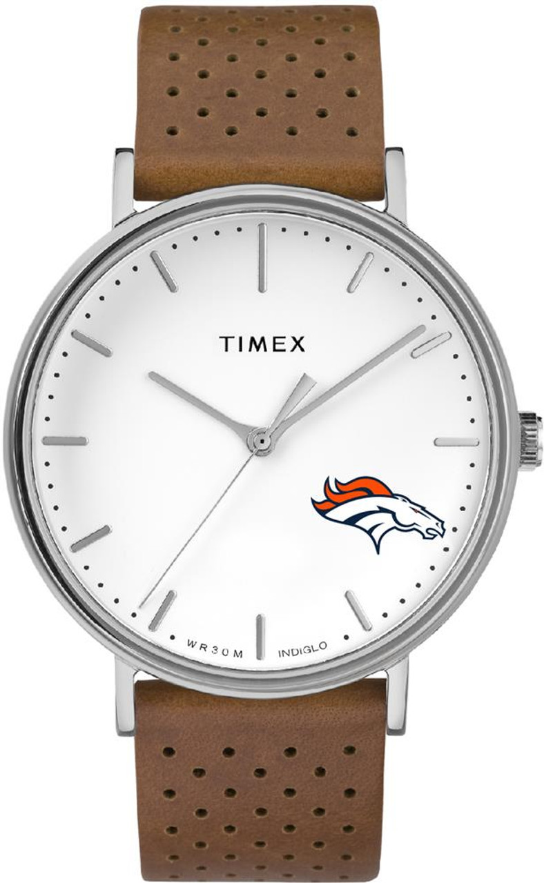 Womens Timex Denver Broncos Watch Bright Whites Leather