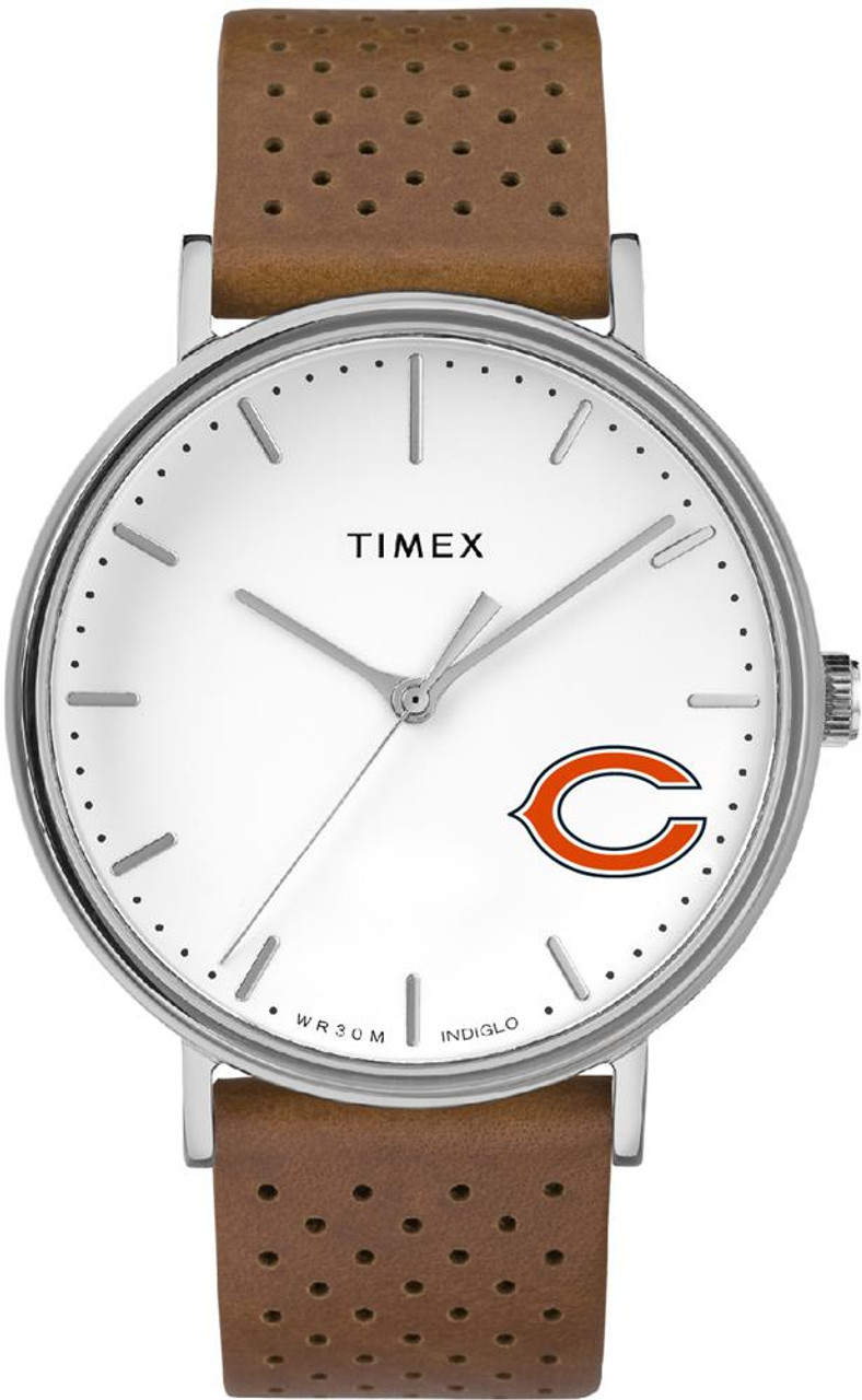 Womens Timex Chicago Bears Watch Bright Whites Leather