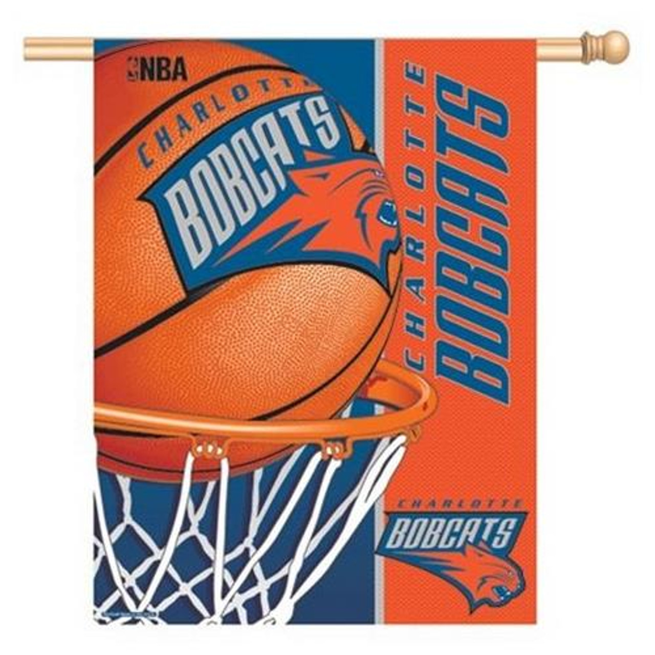 Charlotte Bobcats Vertical Outdoor House Flag Outdoors