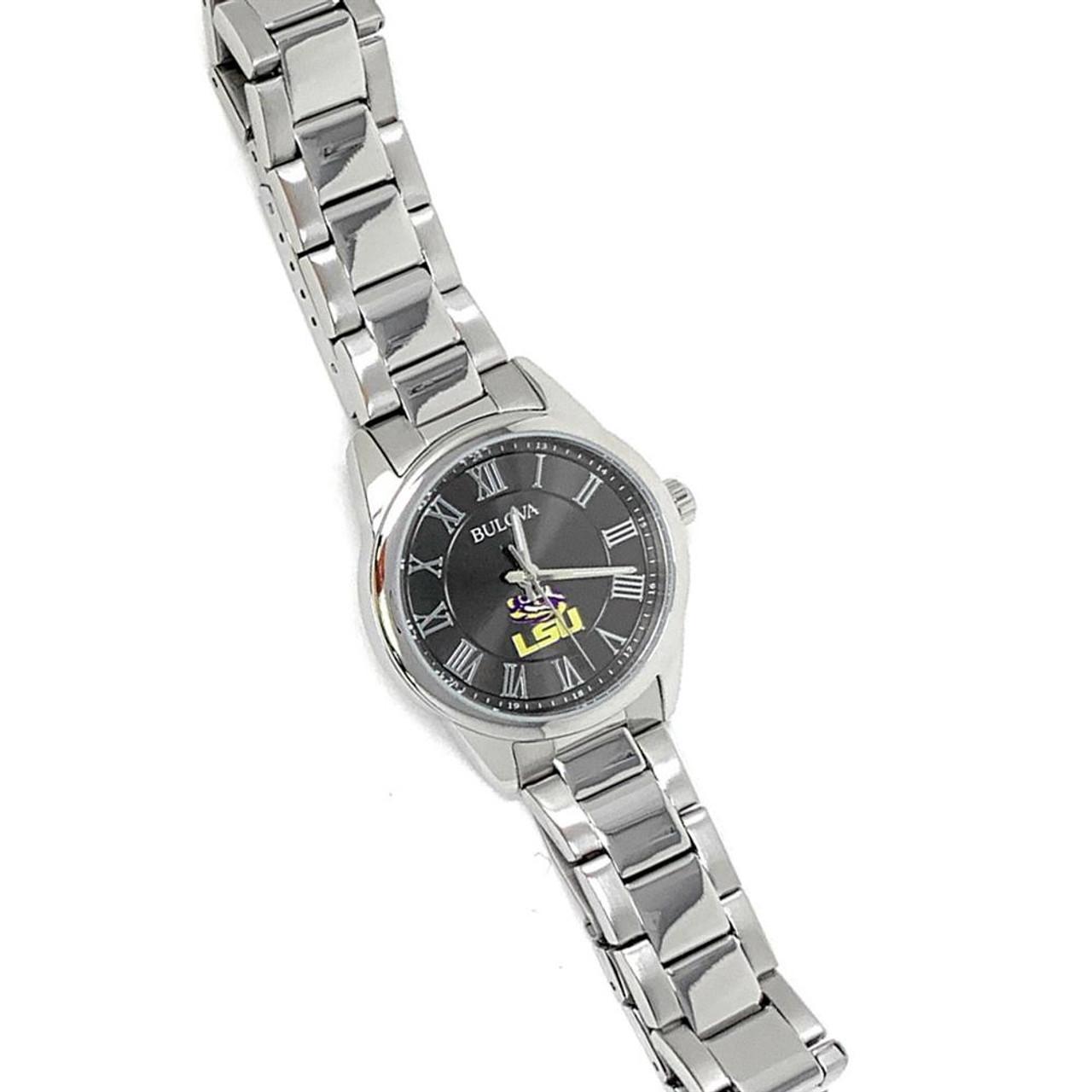 Women's LSU Tigers Louisiana State Bulova Watch Black/Silver Watch