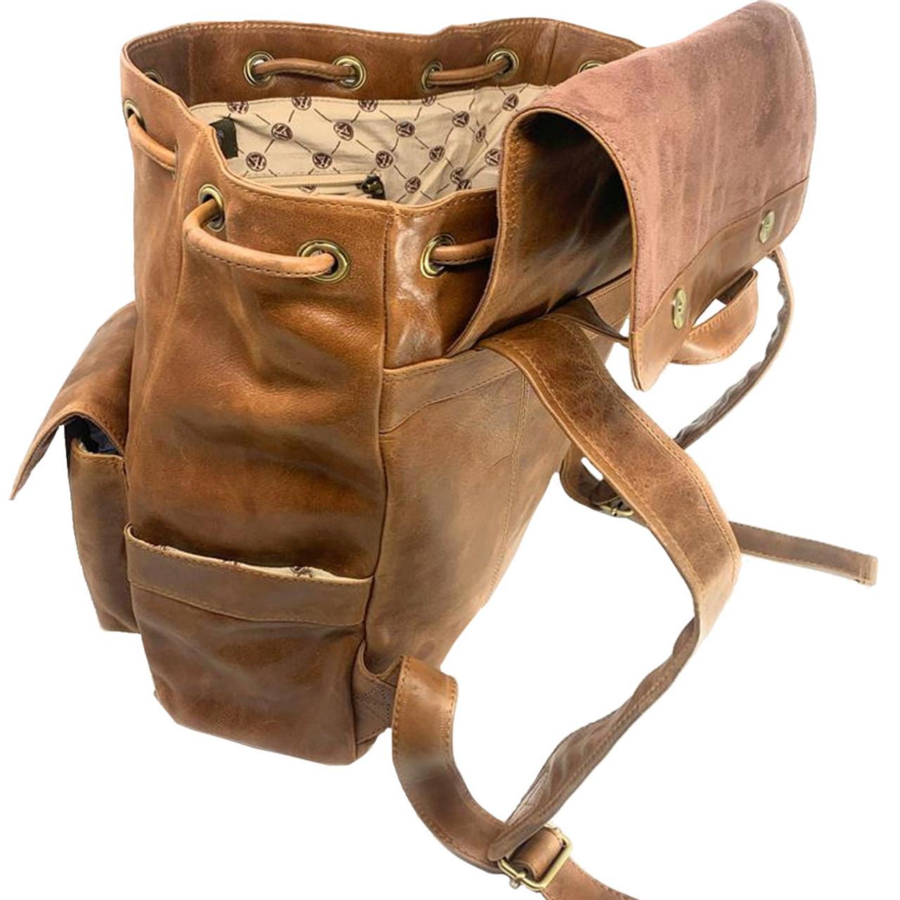 NCSU NC State Wolfpack Leather Rucksack Tan Westbridge Backpack