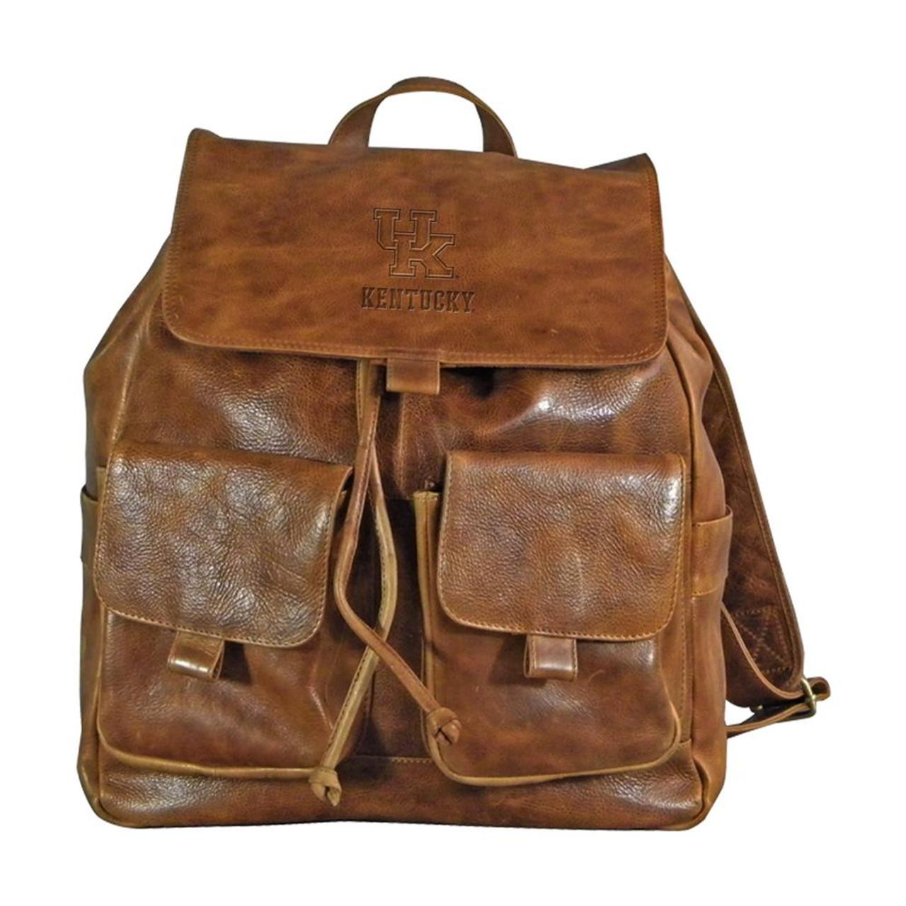 Kentucky Wildcats UK Leather Rucksack Tan Westbridge Backpack