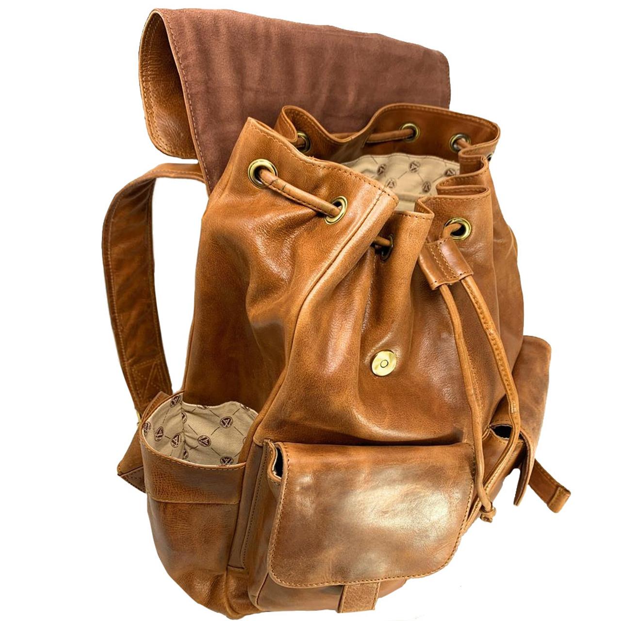 Clemson University Tigers Leather Rucksack Tan Westbridge Backpack