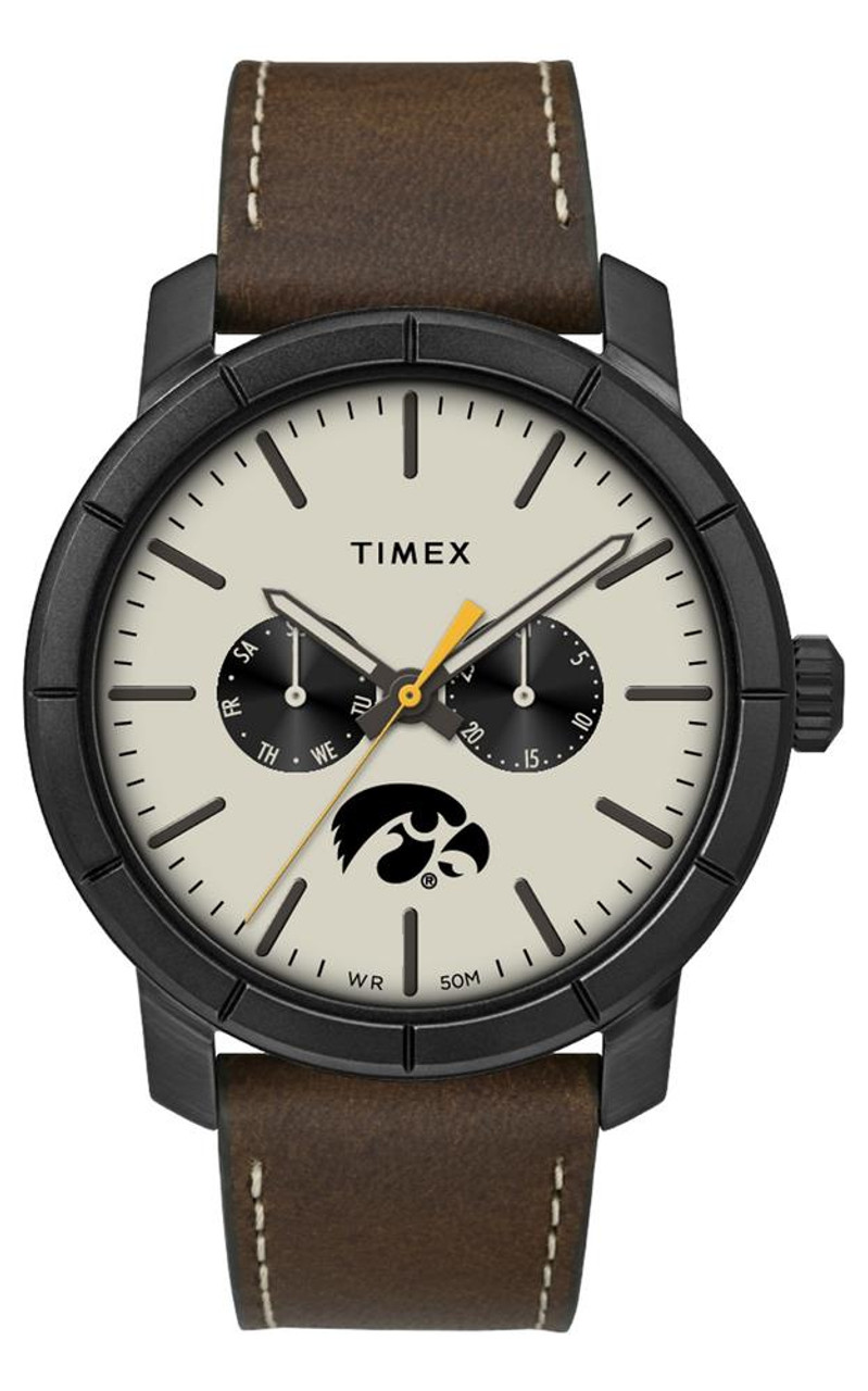 Men's University of Iowa Hawkeyes Timex Watch Home Team Leather Watch