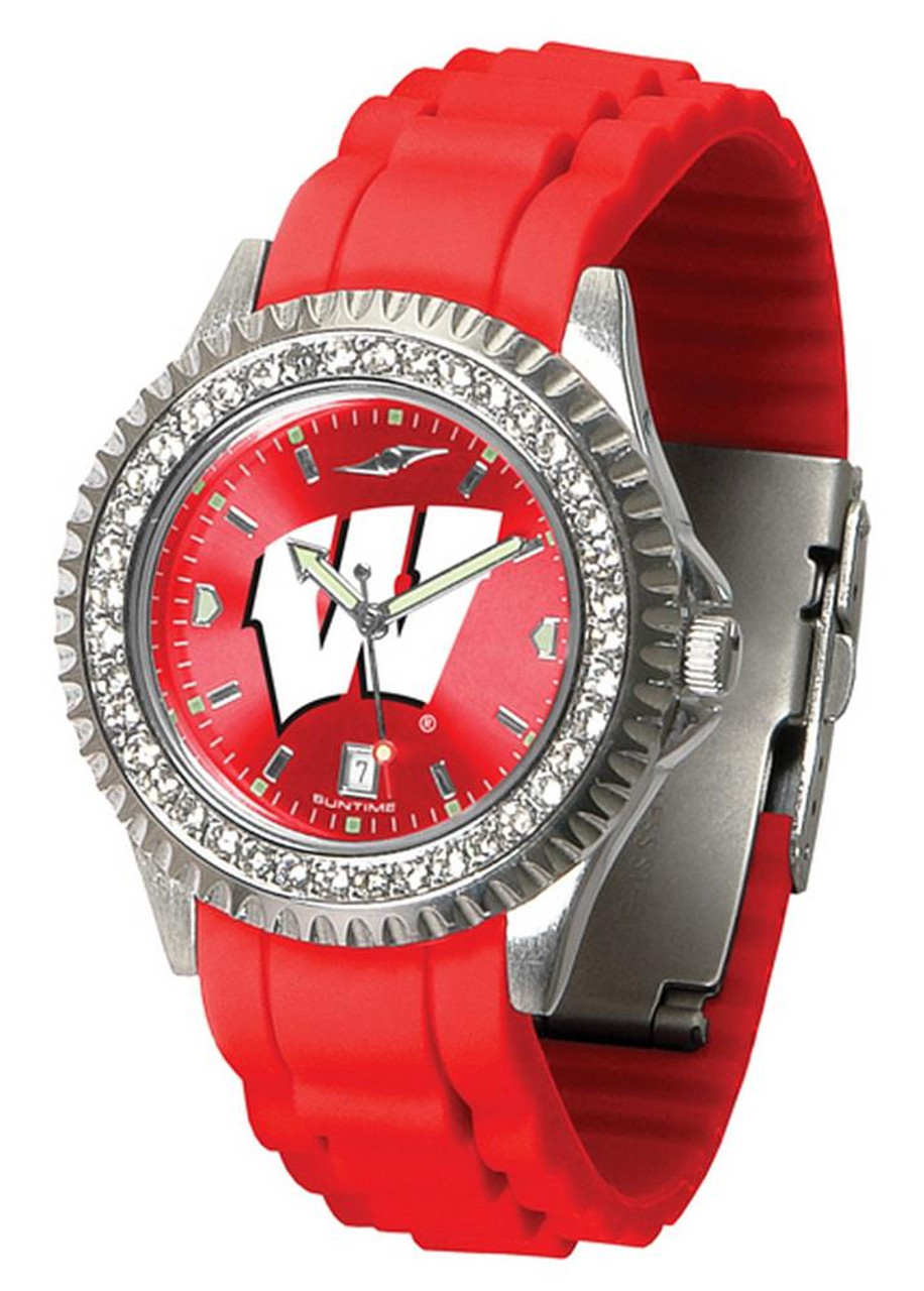 Women's University of Wisconsin Badgers Watch Sparkle Bezel Silicone Band