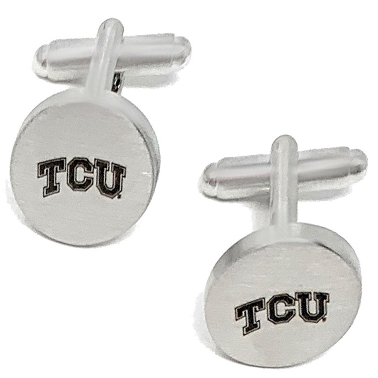 TCU Texas Christian Cuff Links Silver Cufflink Set