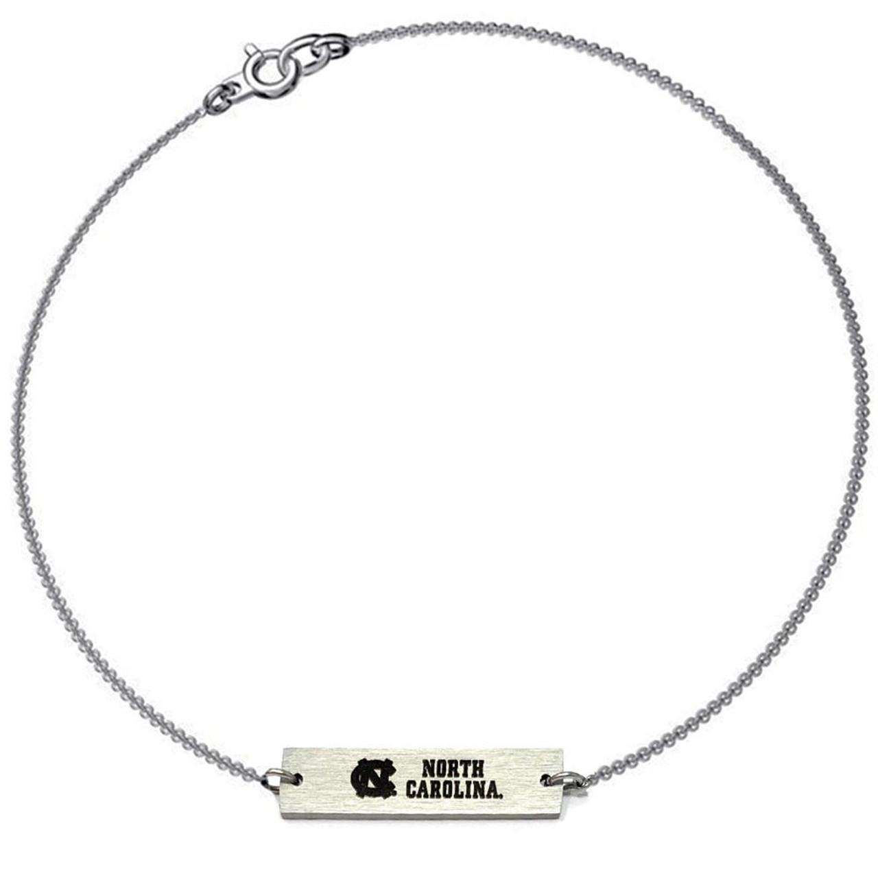 Women's North Carolina Tarheels UNC Bracelet Silver Bar Bracelet