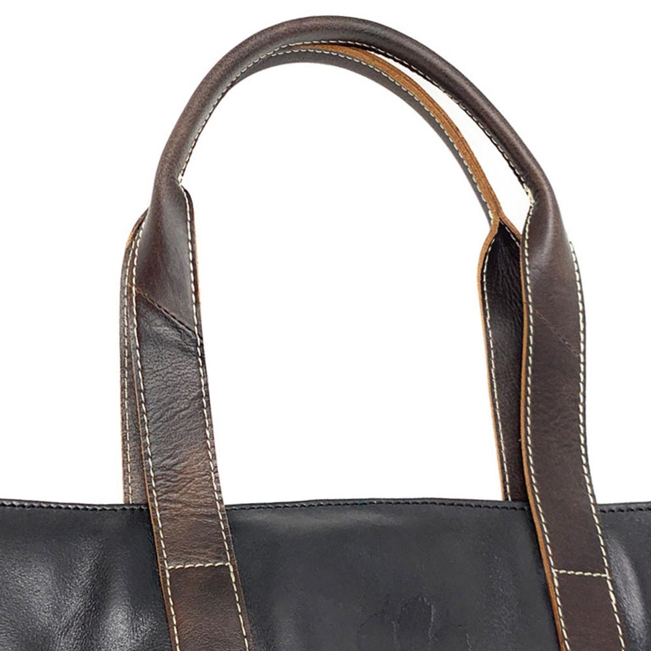 University of Oklahoma Sooners Tote Bag Black Genuine Leather Tote