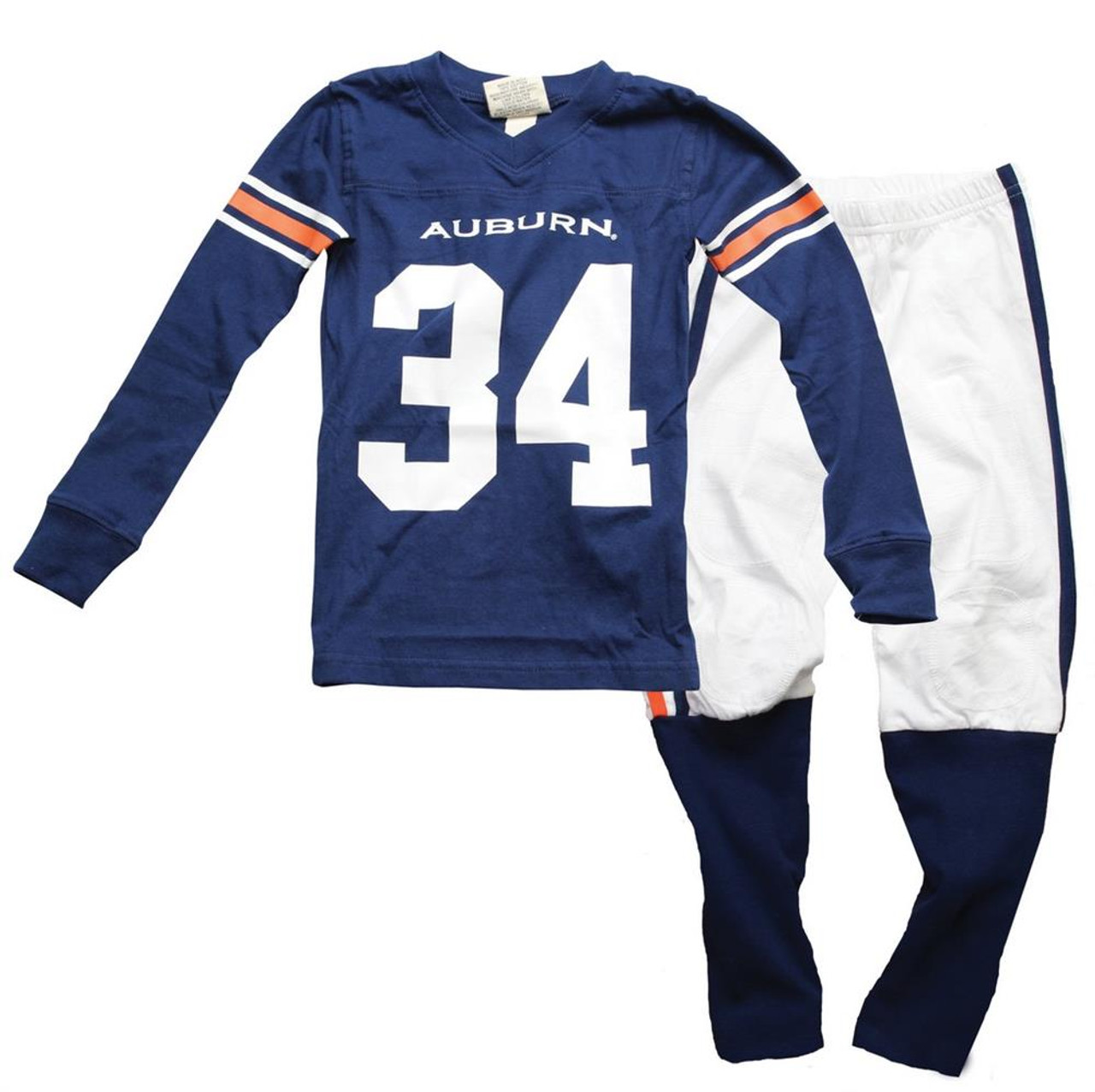 Boys Auburn University Tigers Pajamas LS Football Jersey PJ Set