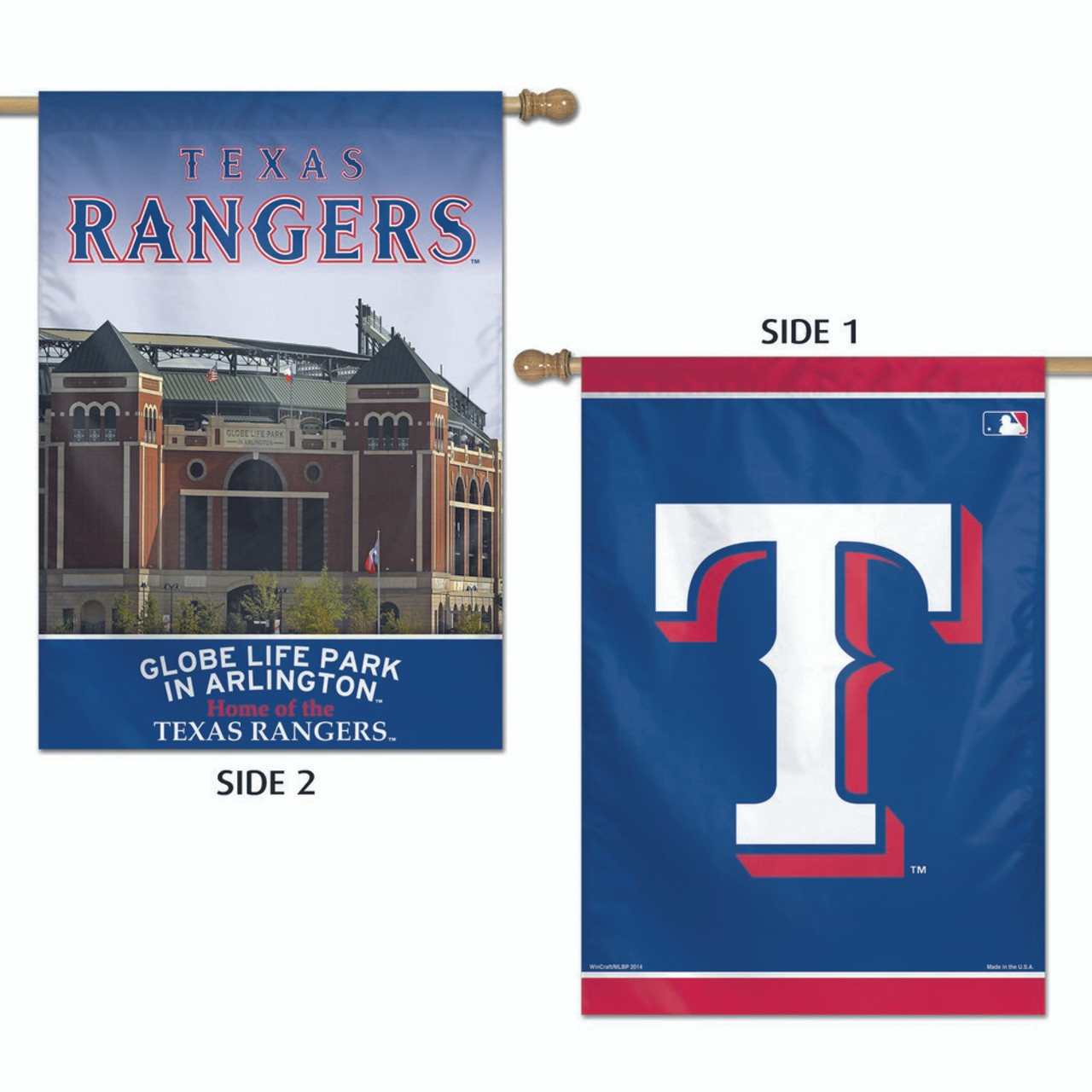"Texas Rangers Flag 28"" x 40"" Double Sided Banner"