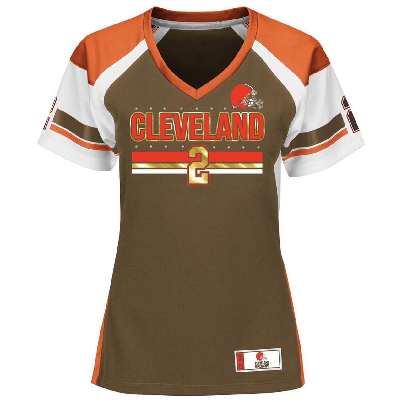 ec56f56c Ladies Johnny Manziel Cleveland Browns Jersey Draft Him Fashion Top